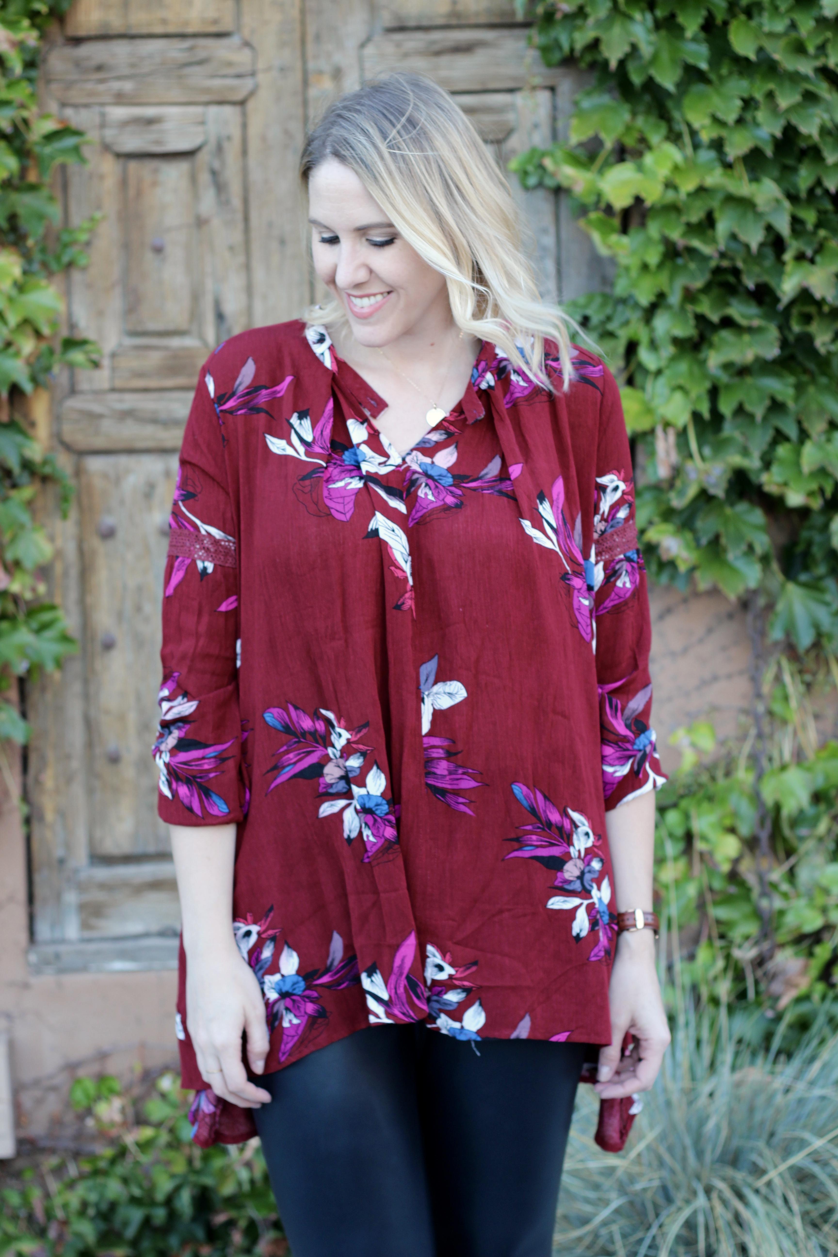 zaful floral print tunic for fall #floralprinttunic #fallflorals #falloutfit