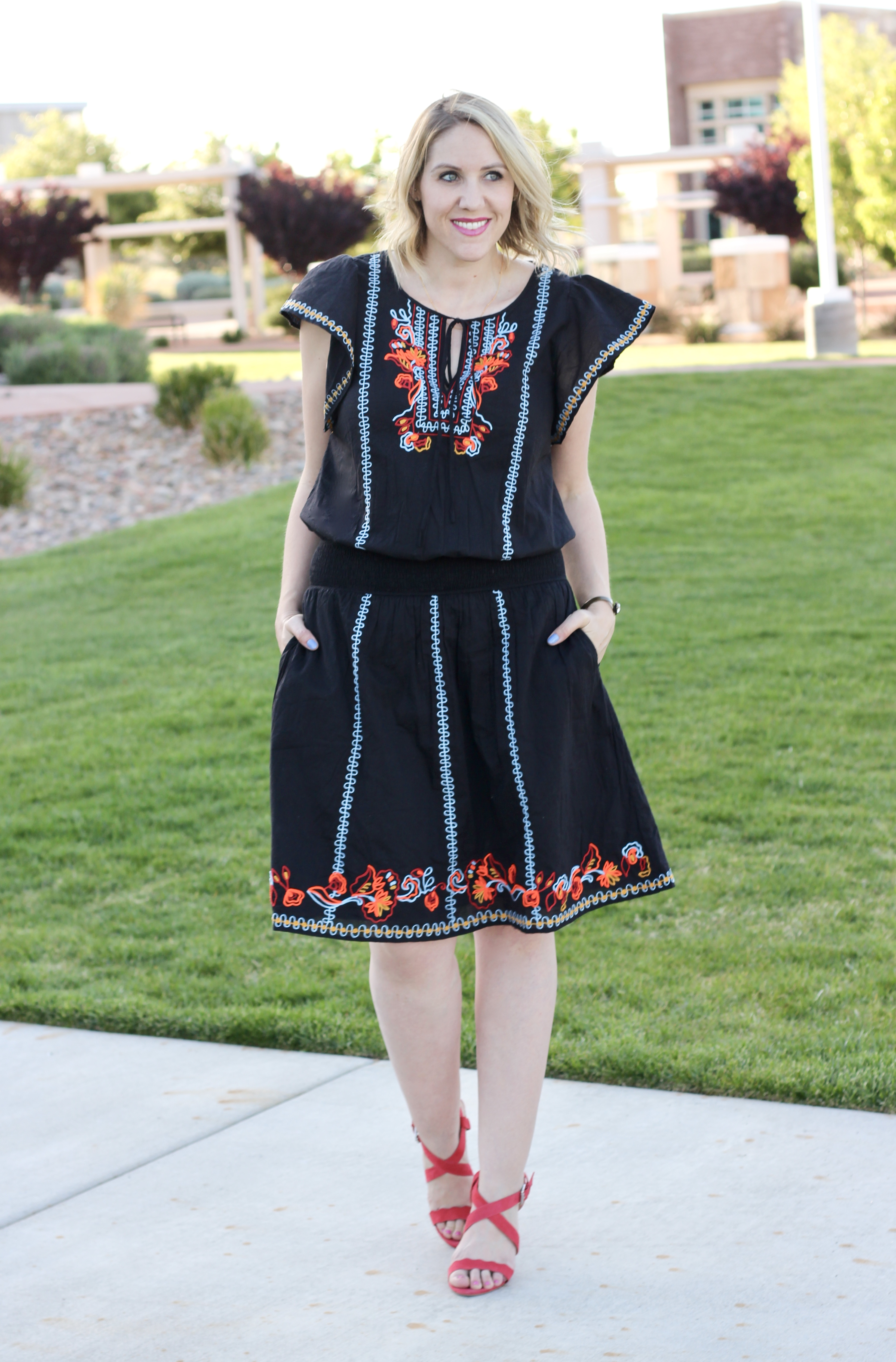 fun embroidered dress for summer
