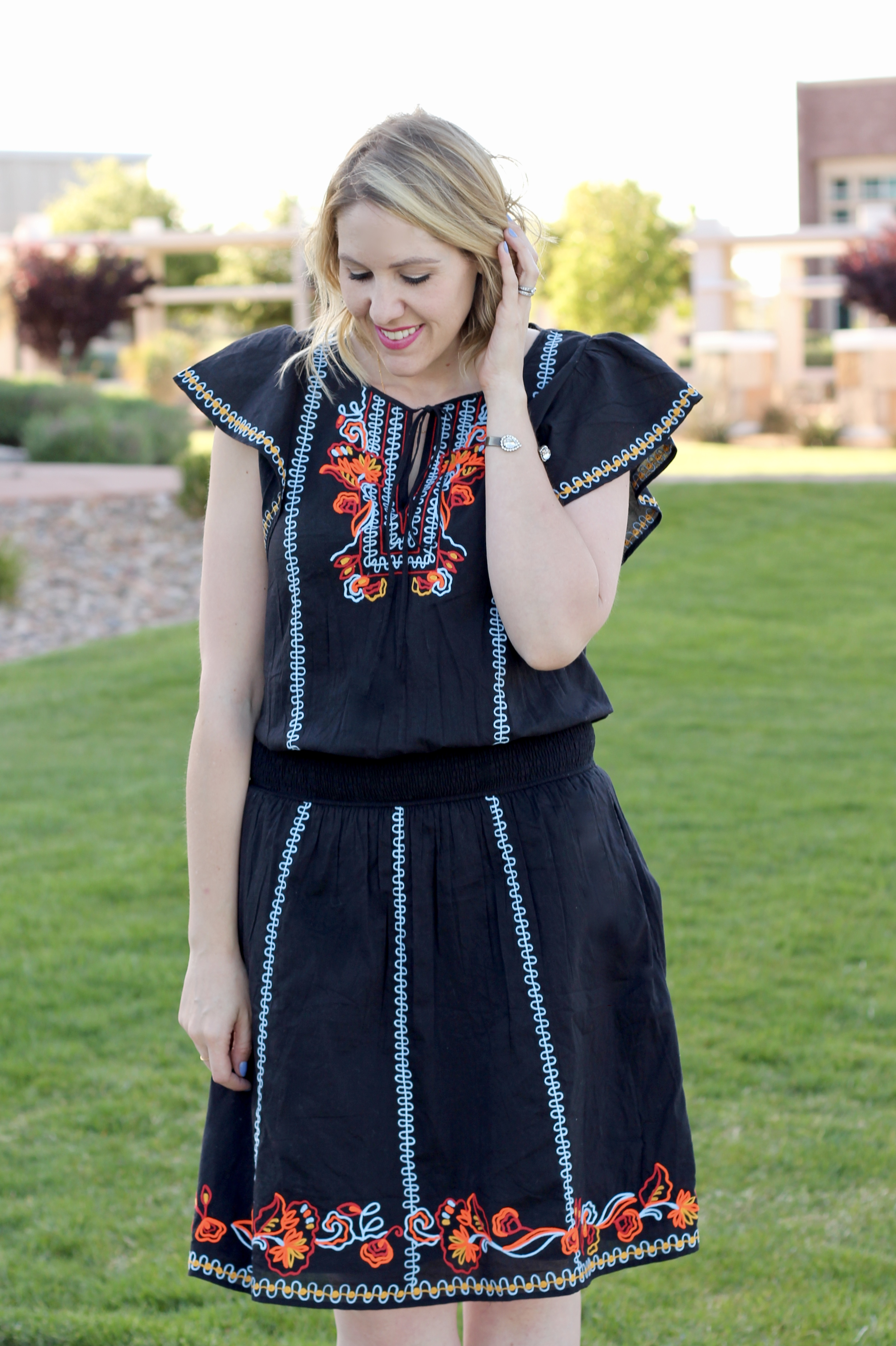 black embroidered dress for summer
