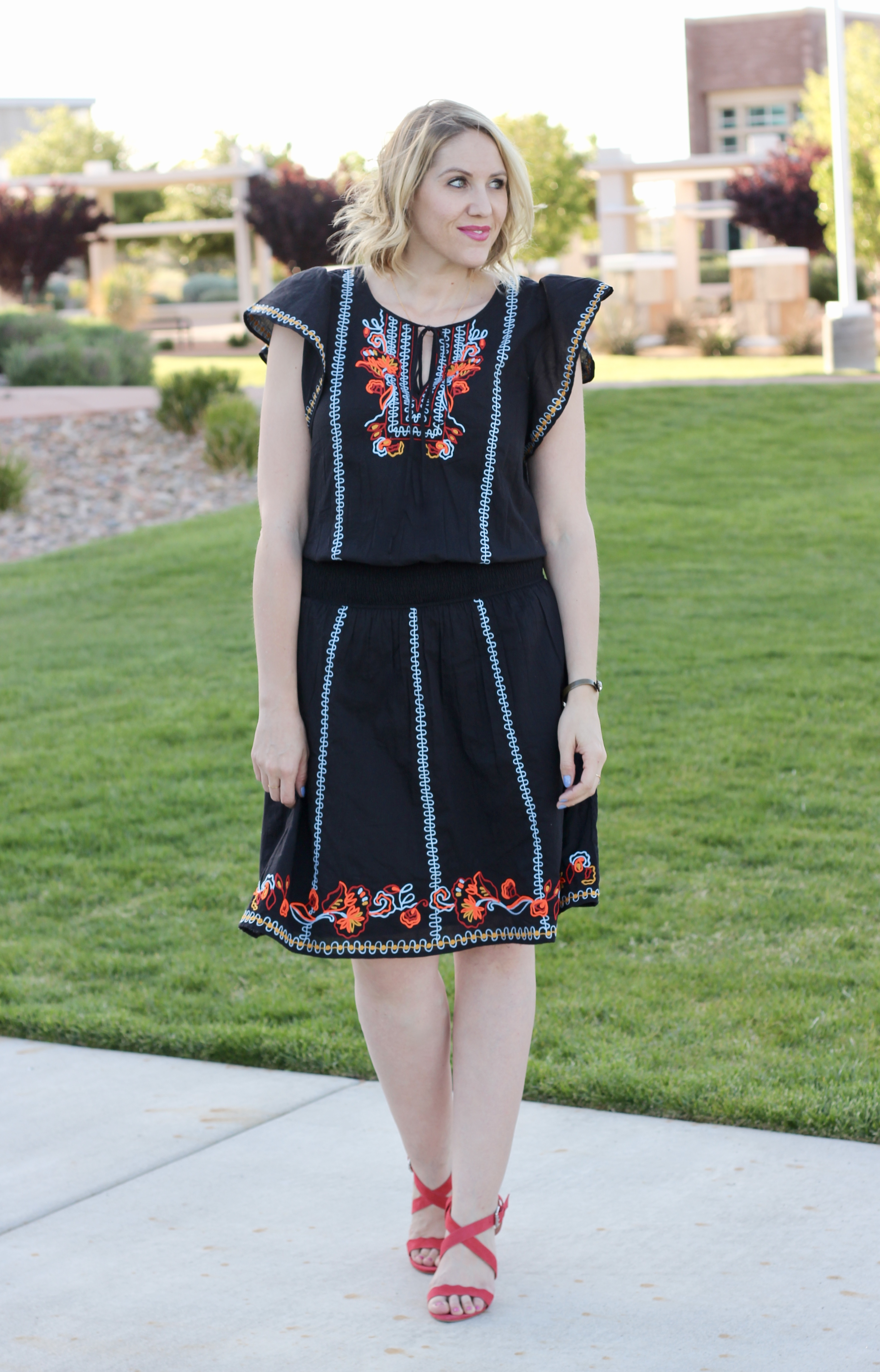 pretty embroidered dress for spring