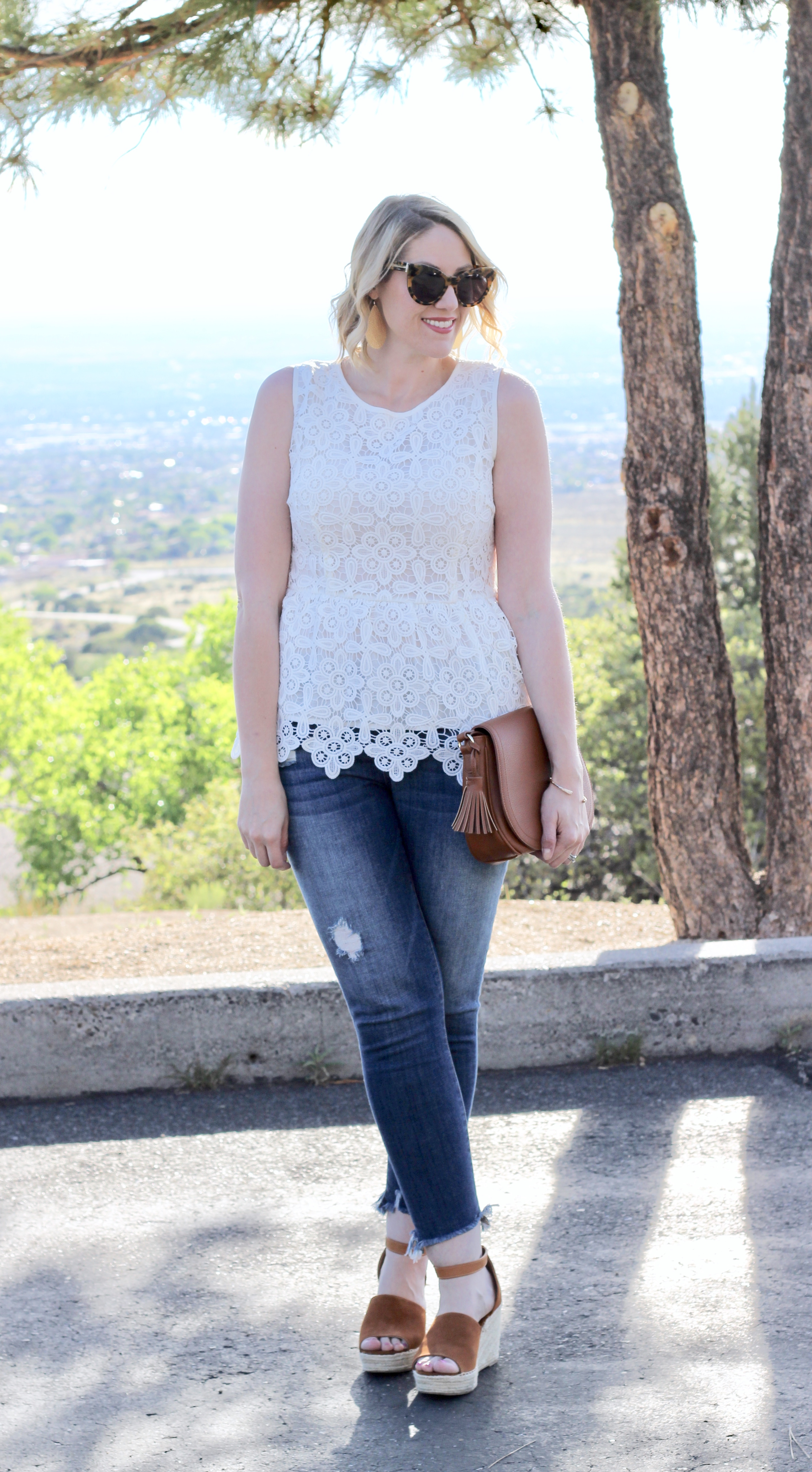 lace peplum top and distressed denim