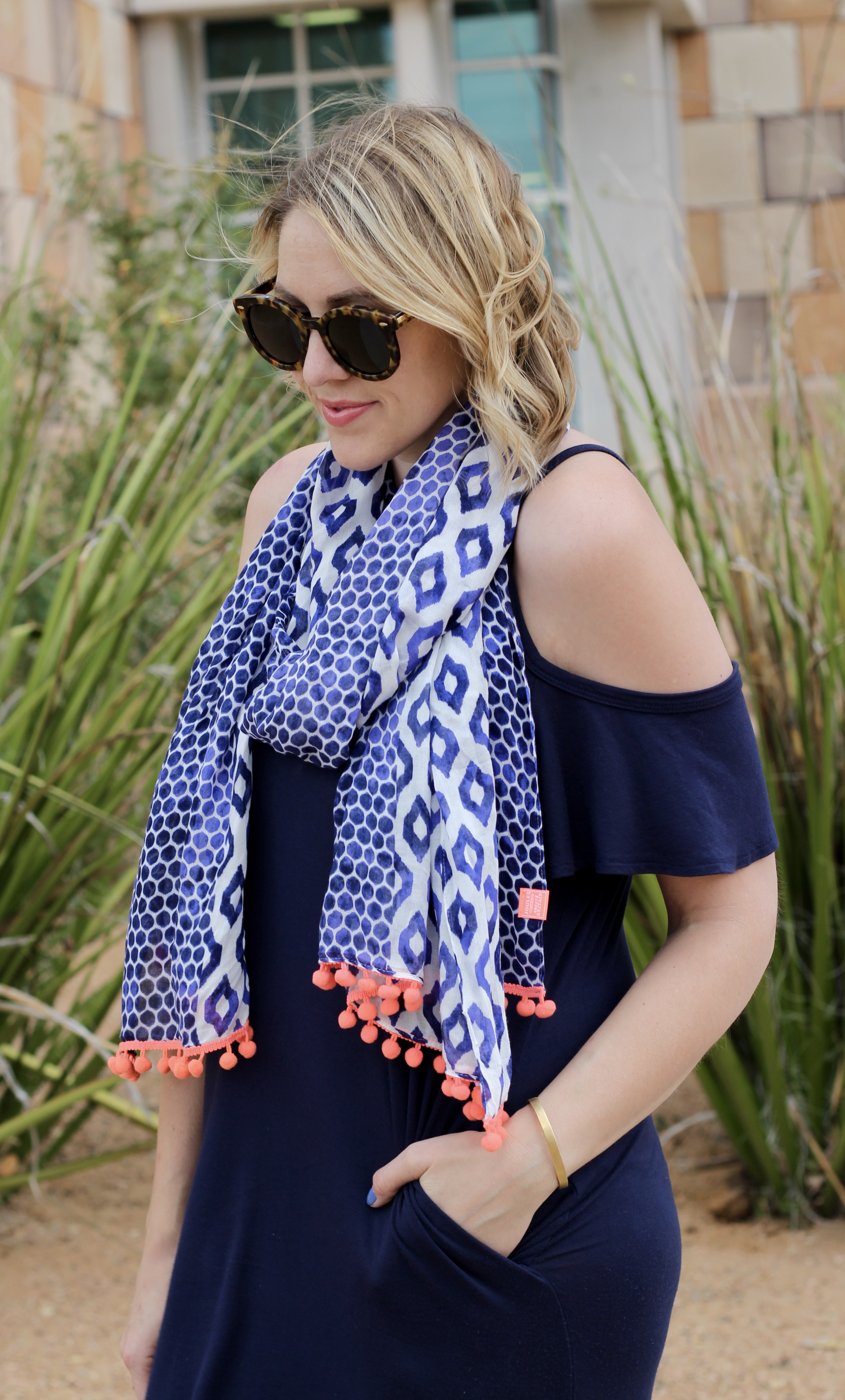 cold shoulder maxi and patterned scarf
