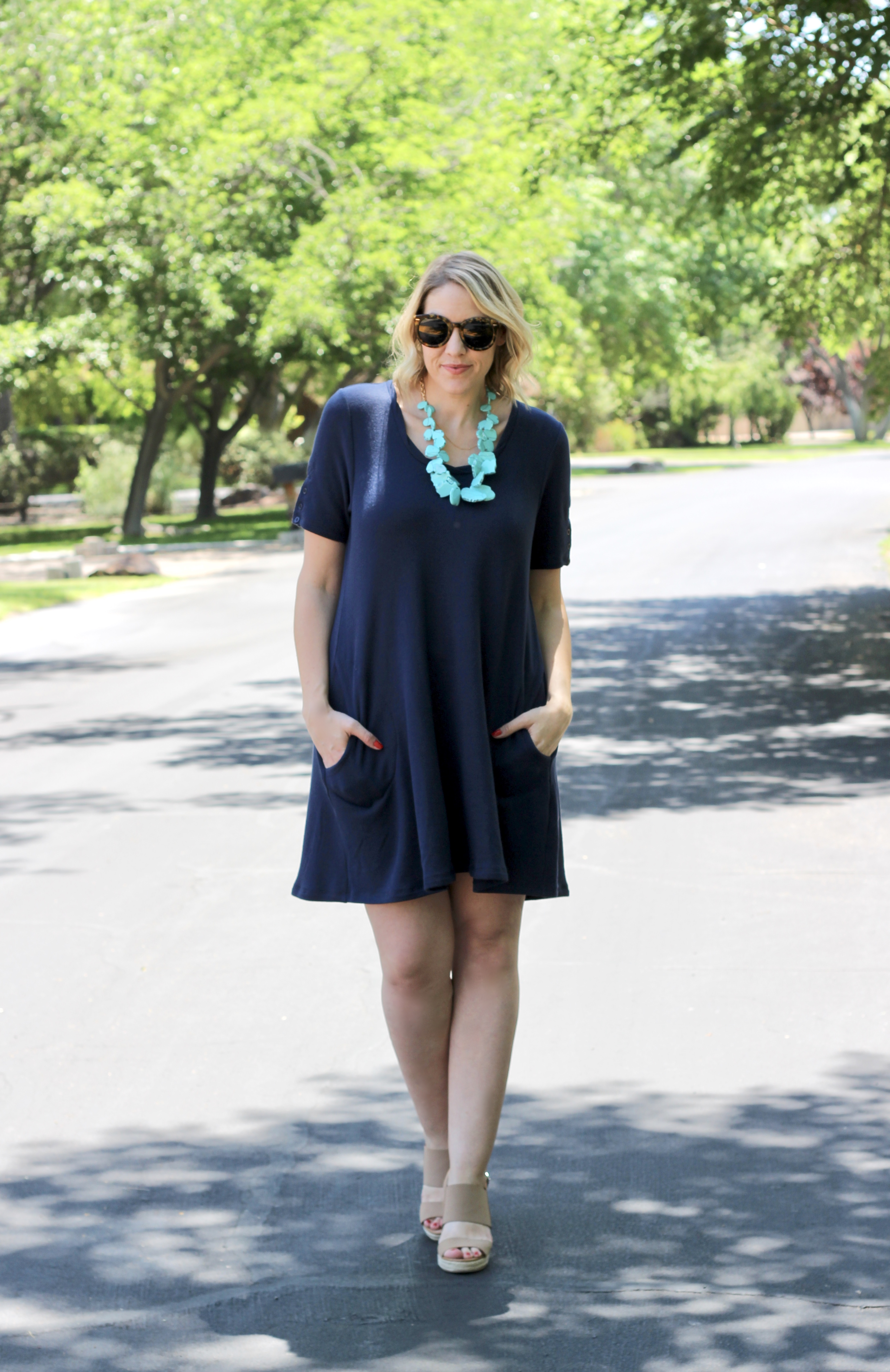 little navy dress with pockets