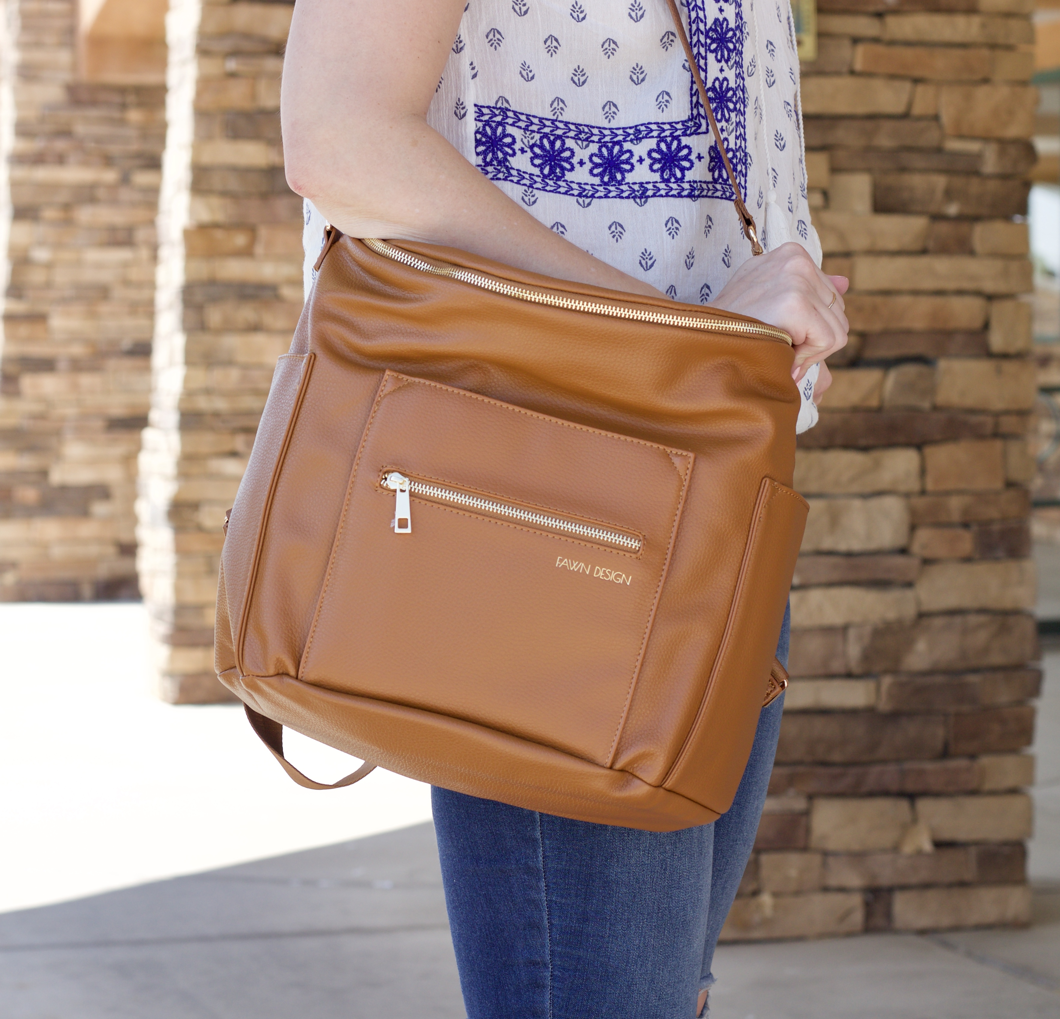 fawn design cognac bag