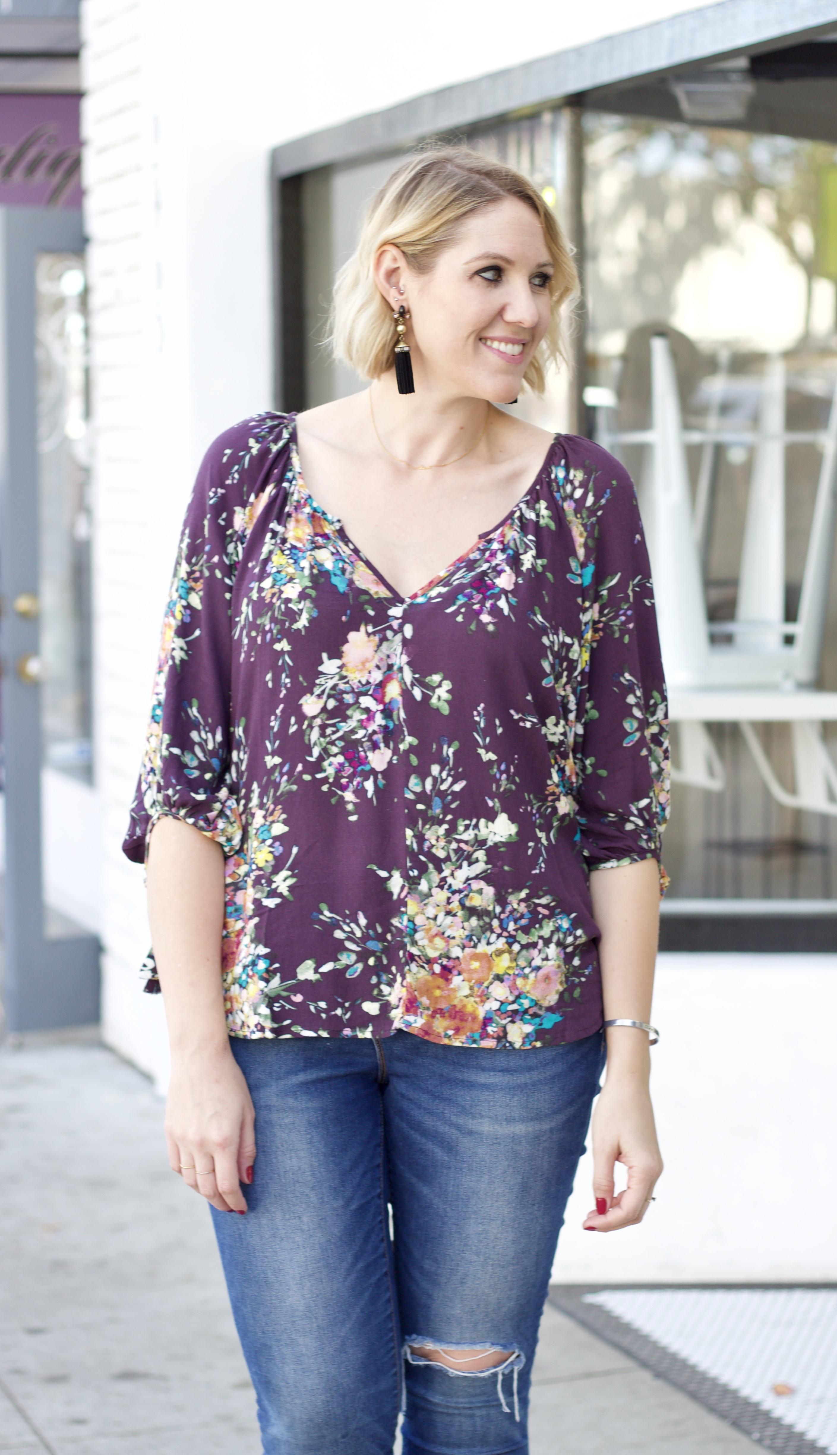 floral blouse for fall