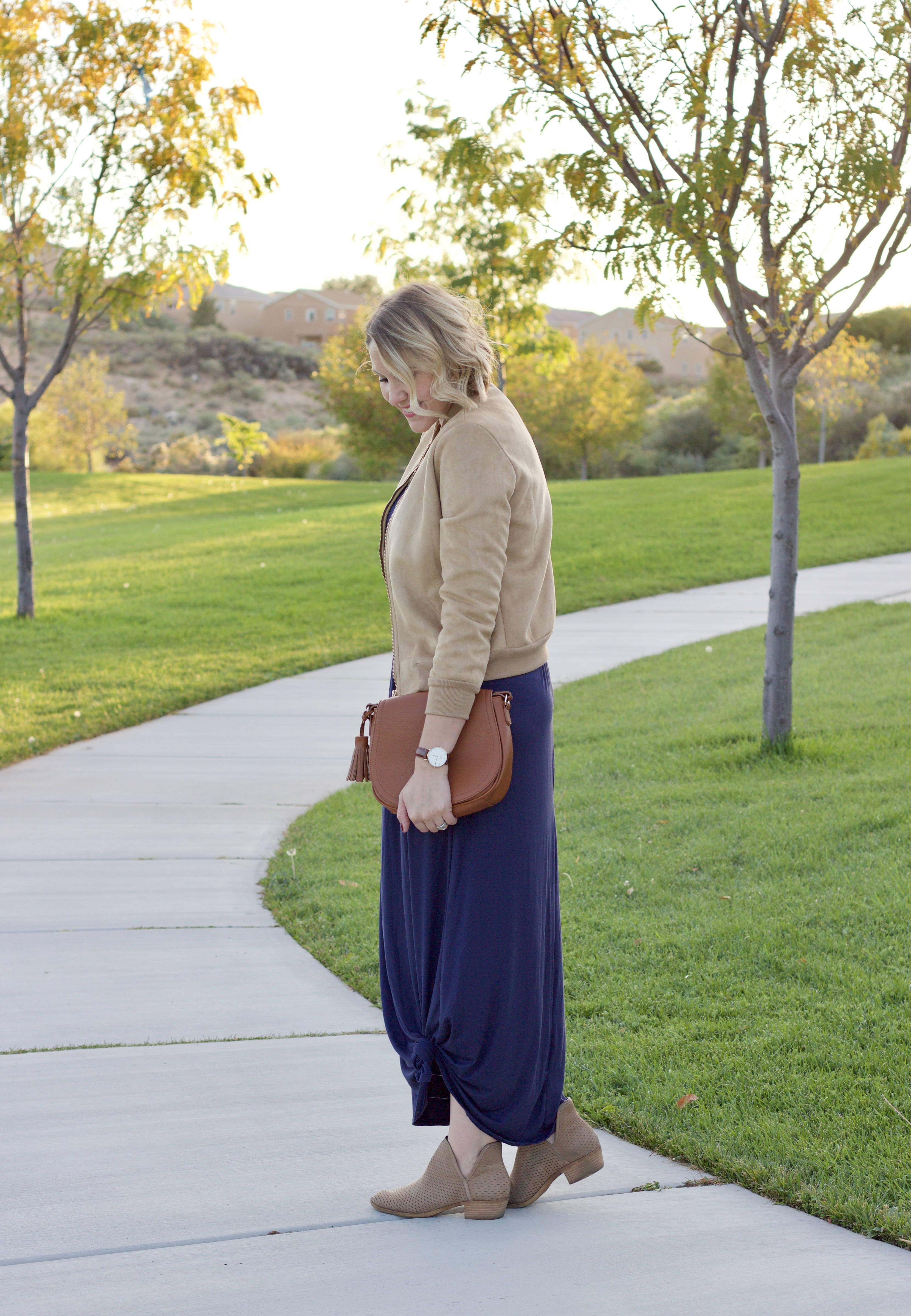 fall outfit maxi dress booties