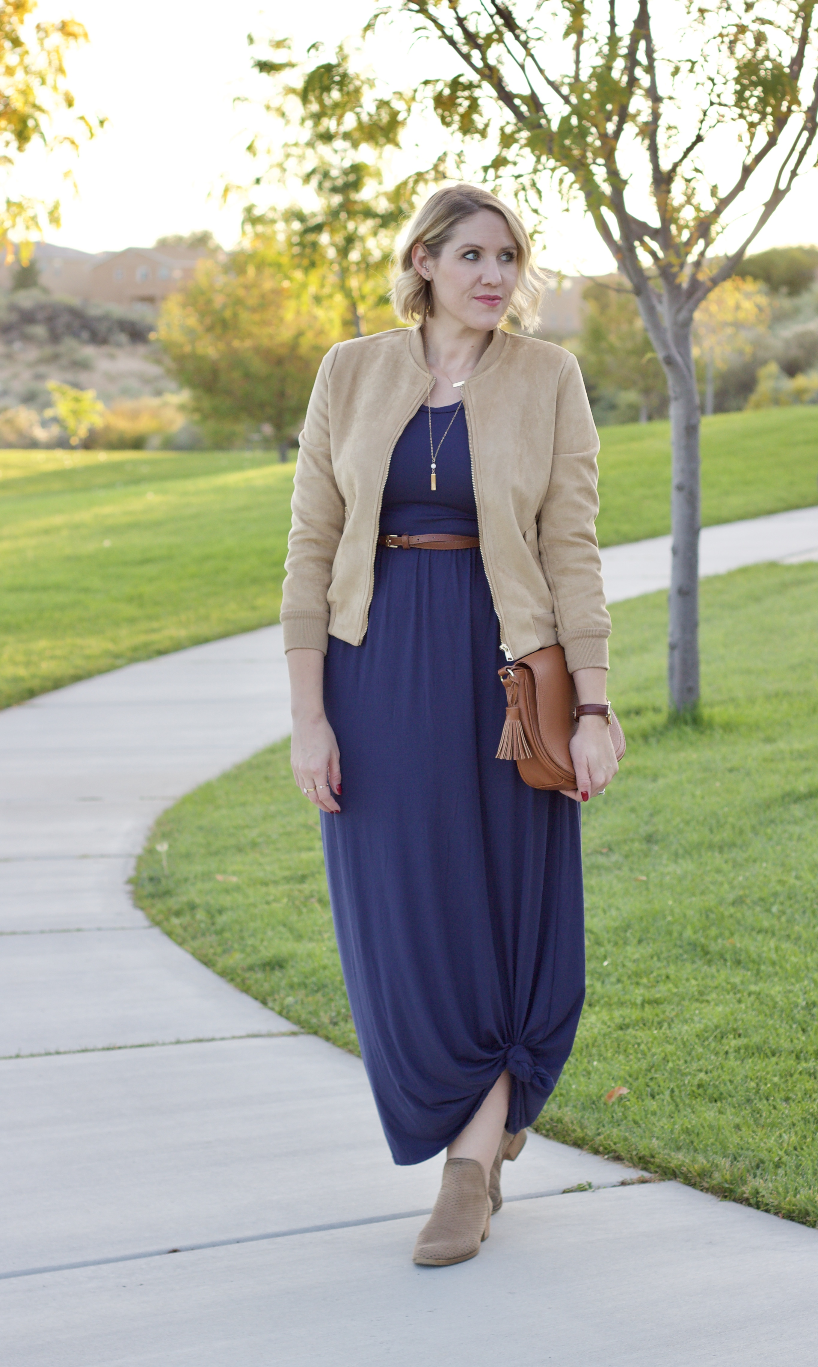 fall maxi dress outfit