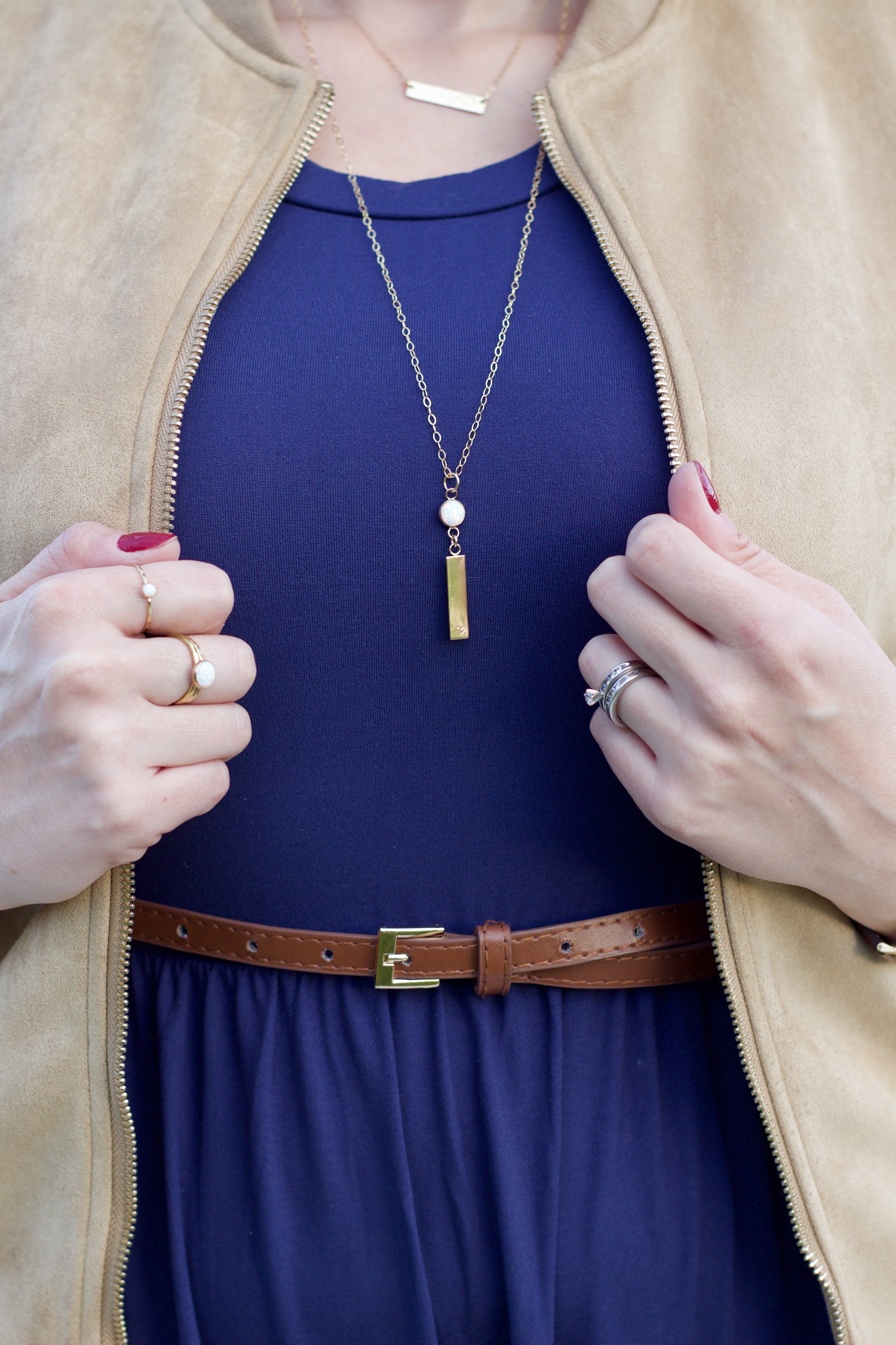 opal layered jewelry outfit