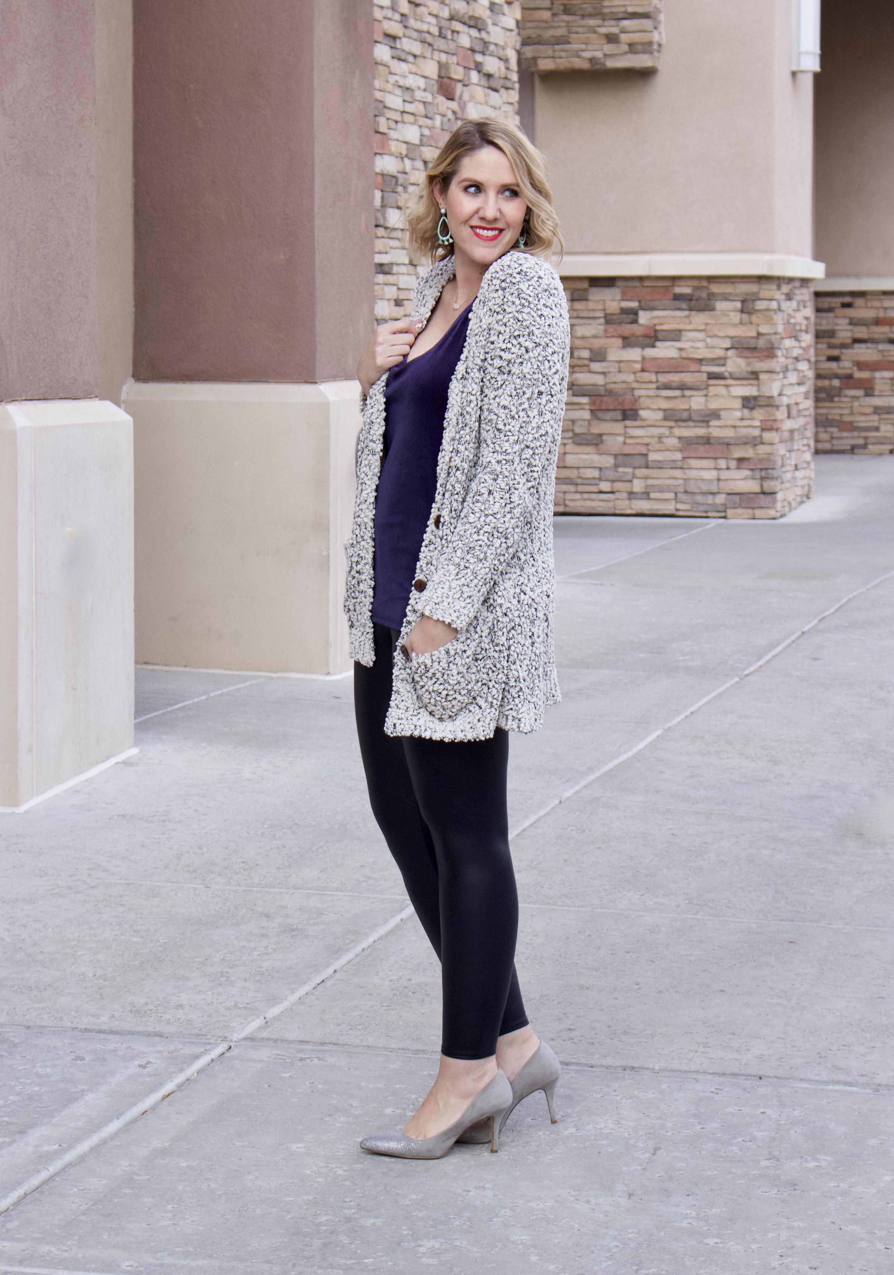 velvet cami cozy cardigan outfit