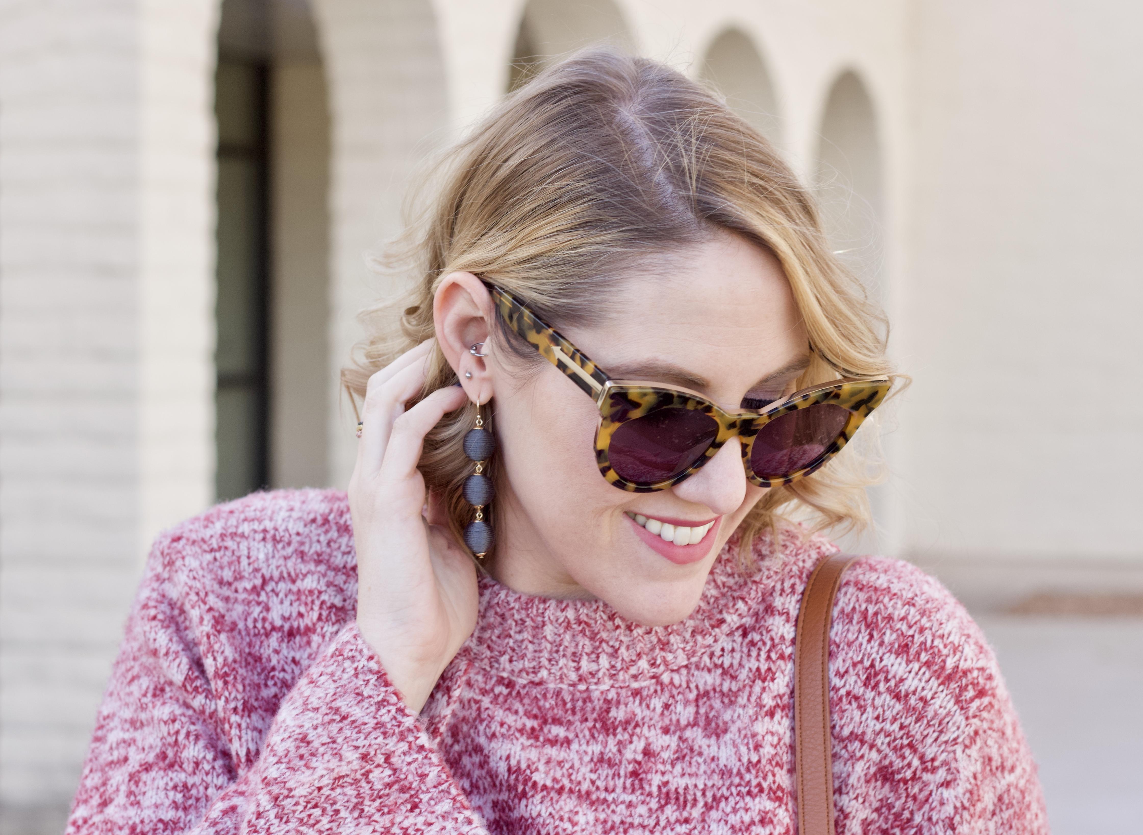 karen walker starburst sunglasses baublebar earrings