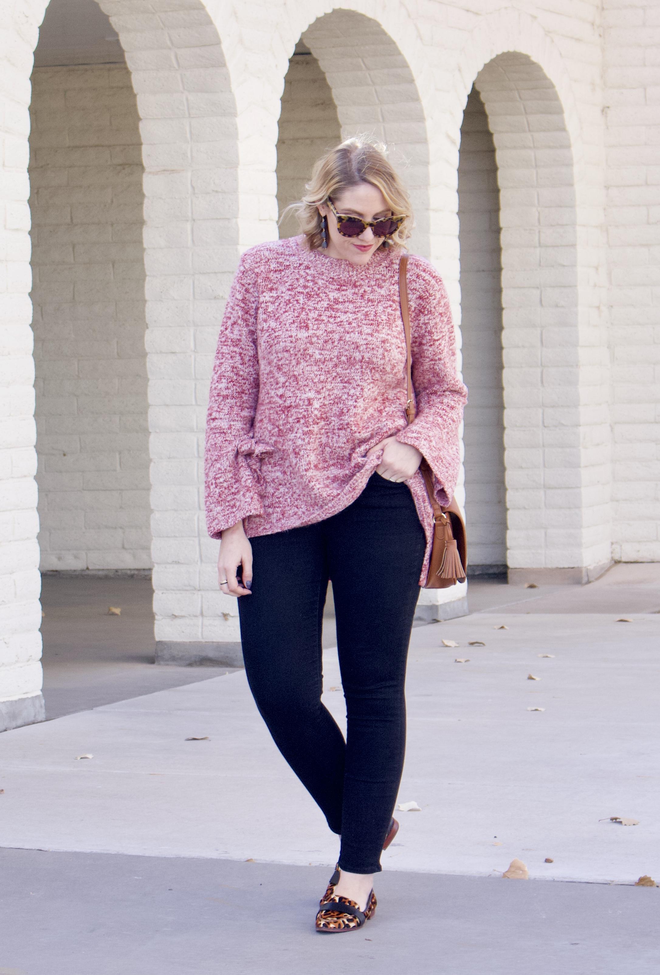 bell sleeve sweater leopard flats