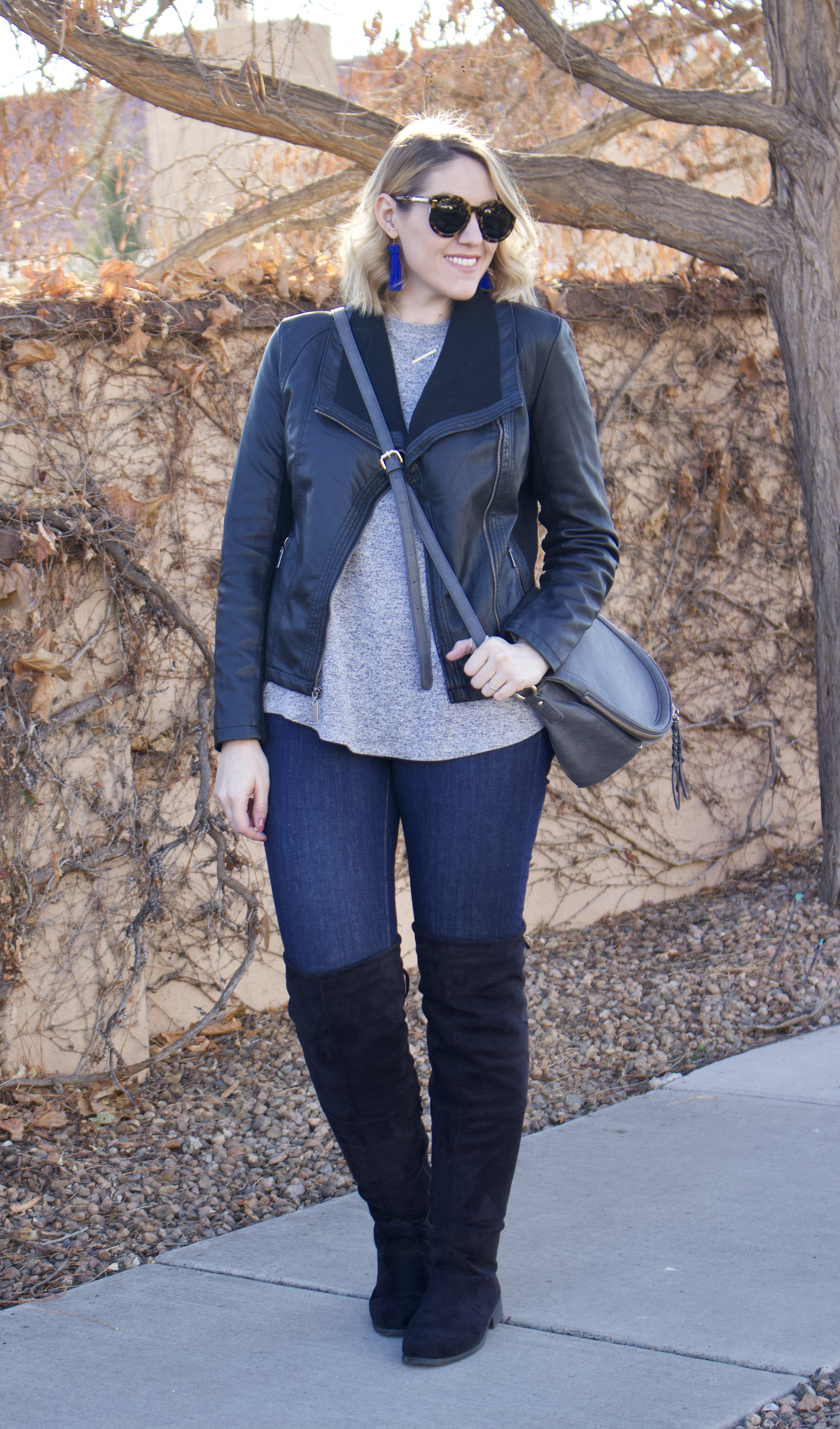 cute winter outfit with OTK boots, affordable faux leather jacket #fauxleatherjacket #curvywinterstyle #otkboots
