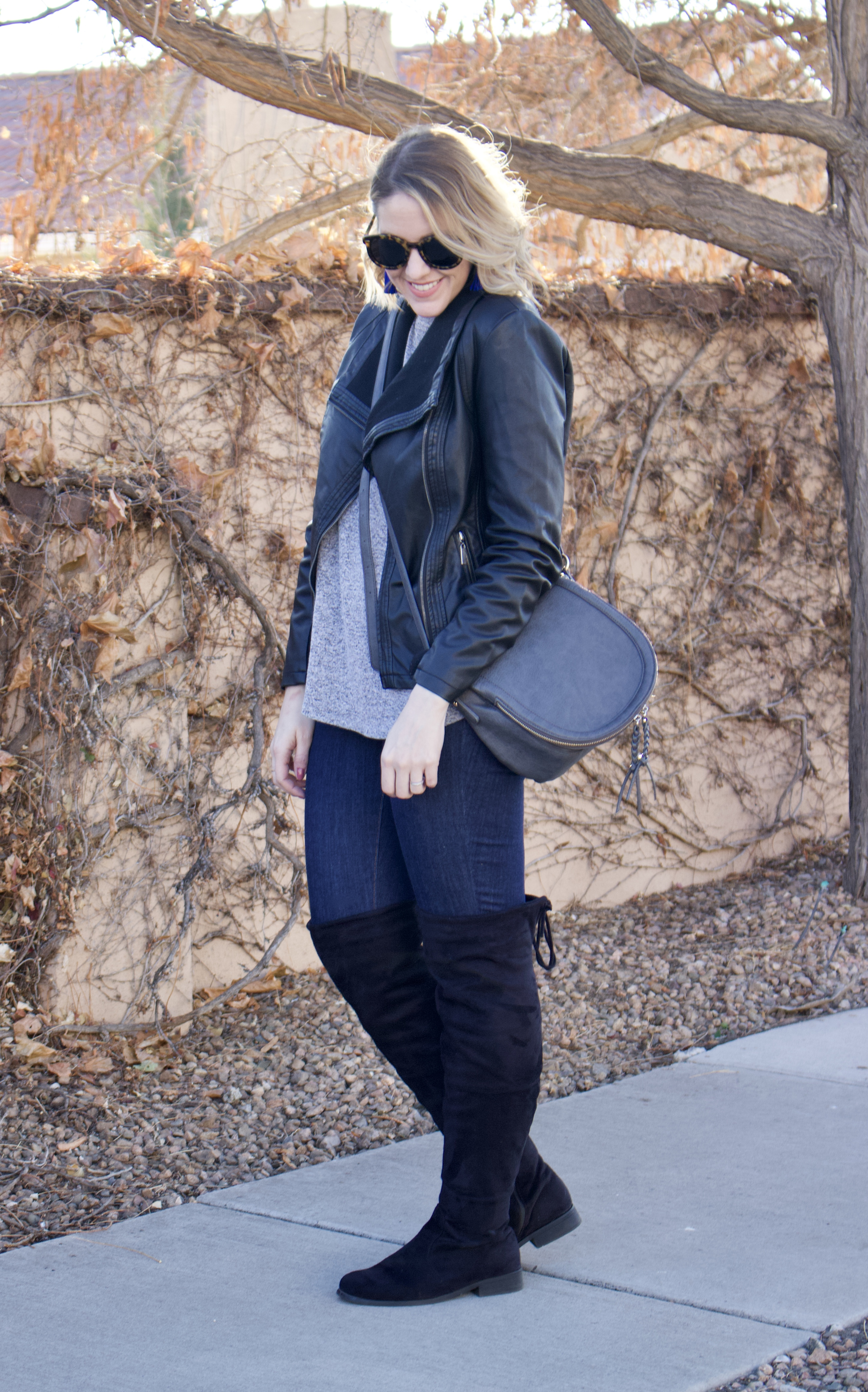 best faux leather jacket #leatherjacket #OTKboots #winterstyle