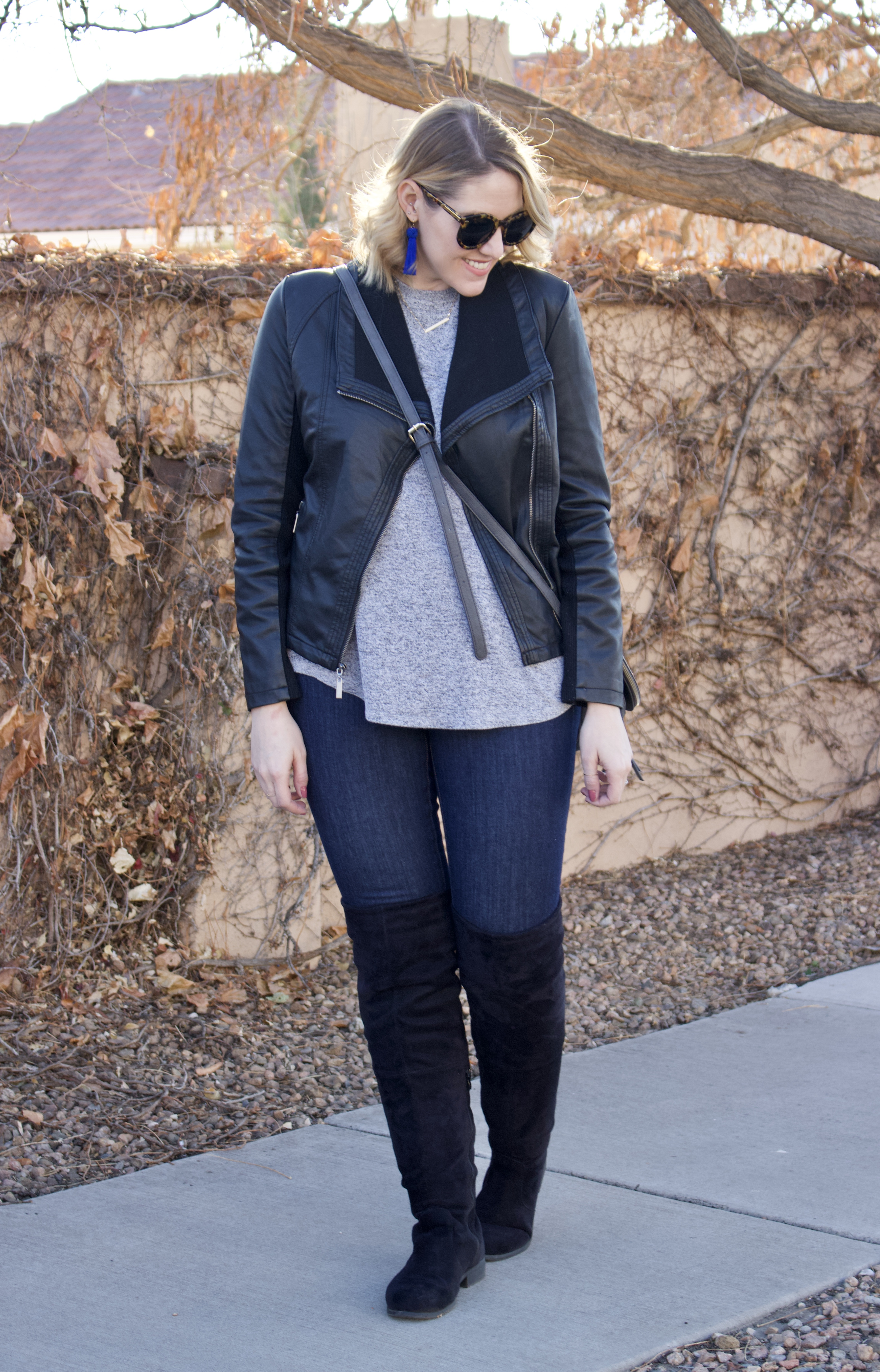 cute winter outfit for tall girls #leatherjacket #overthekneeboots