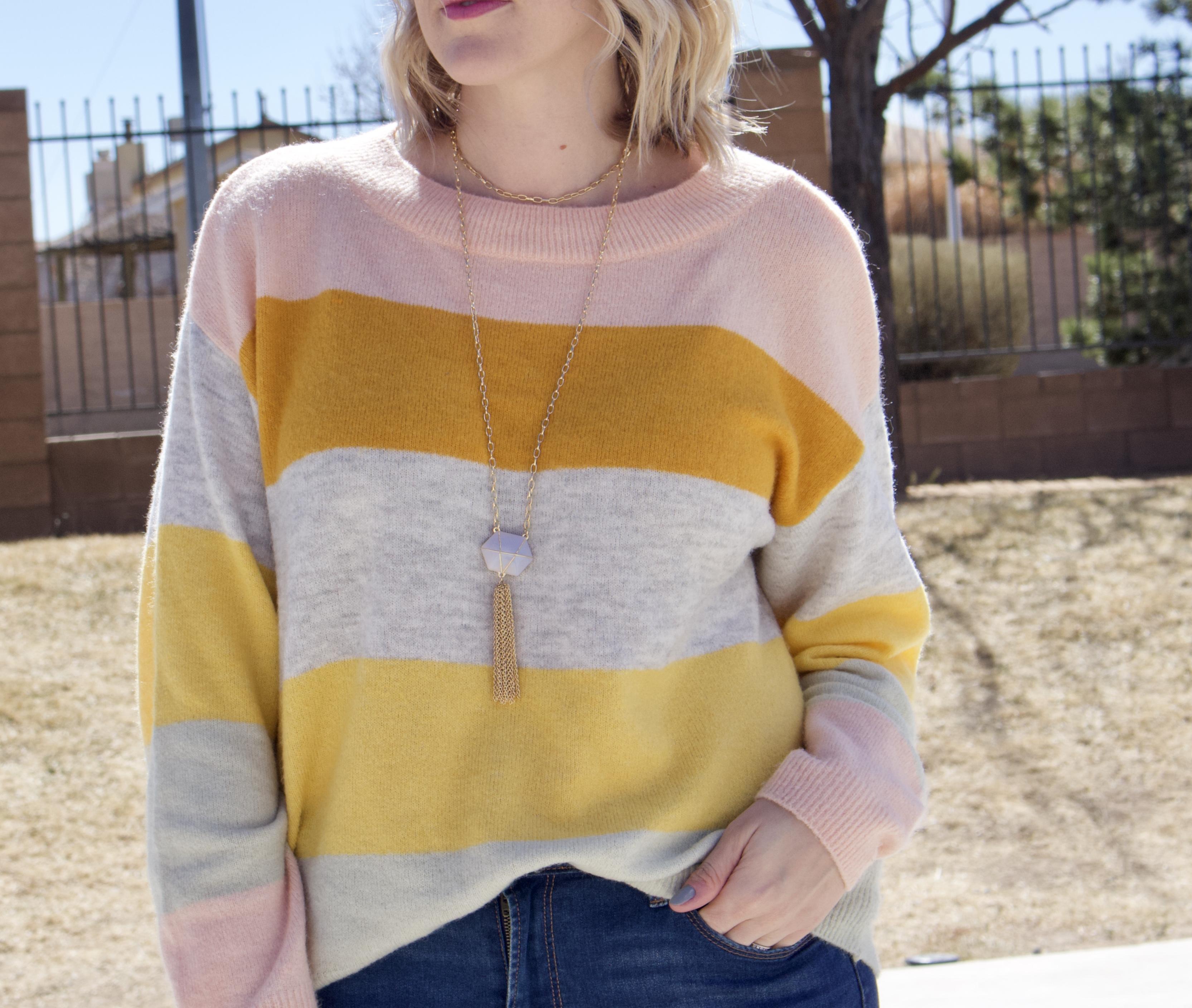 sugarfix by baublebar tassel necklace #baublebar #targetstyle #stripedsweater