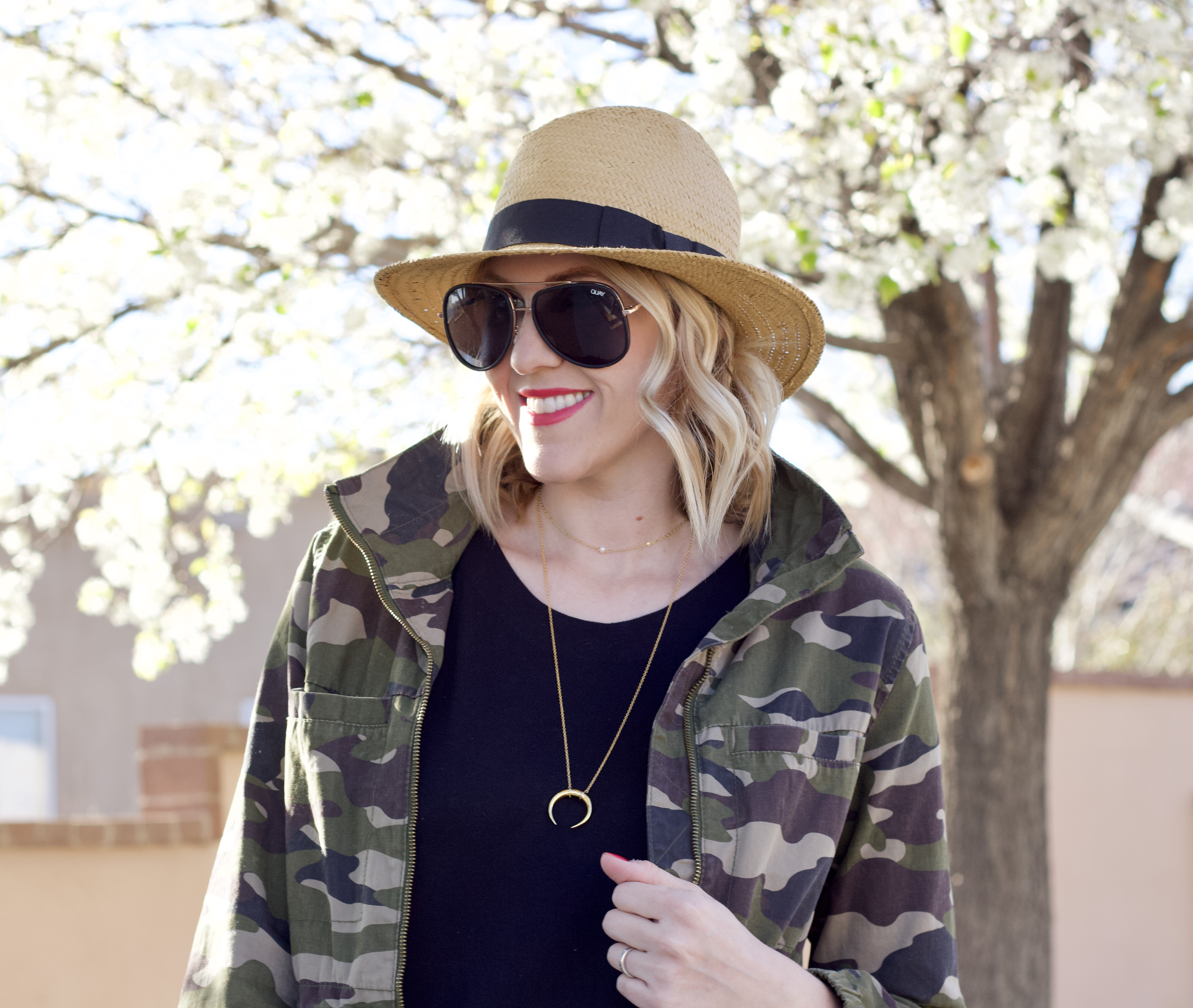 how to style a black jumpsuit camo jacket #jumpsuit #casualoutfit #momstyle