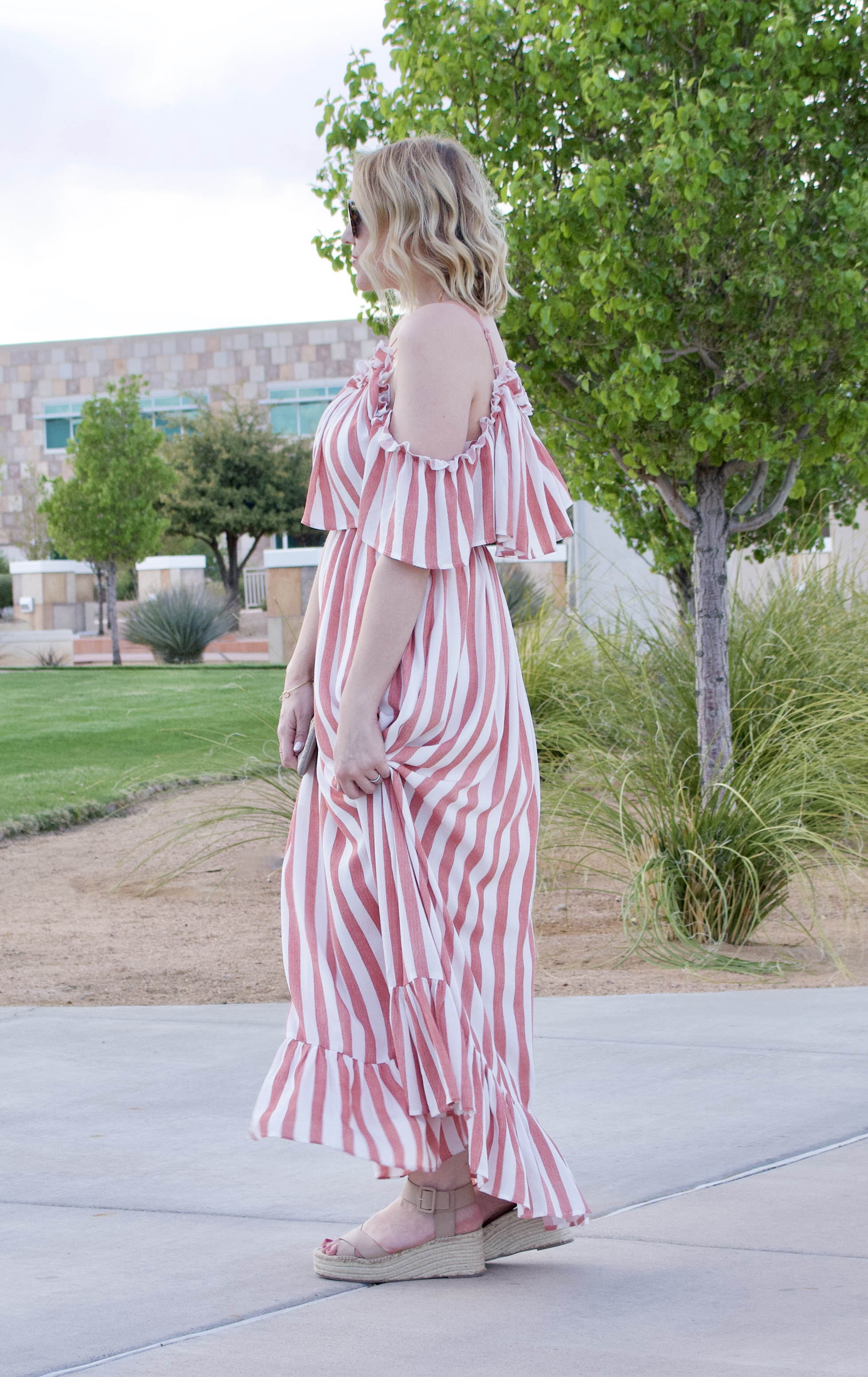 ruffled open shoulder maxi dress fashion link up #linkup #fashionblogger #styleblogger #pinkblush
