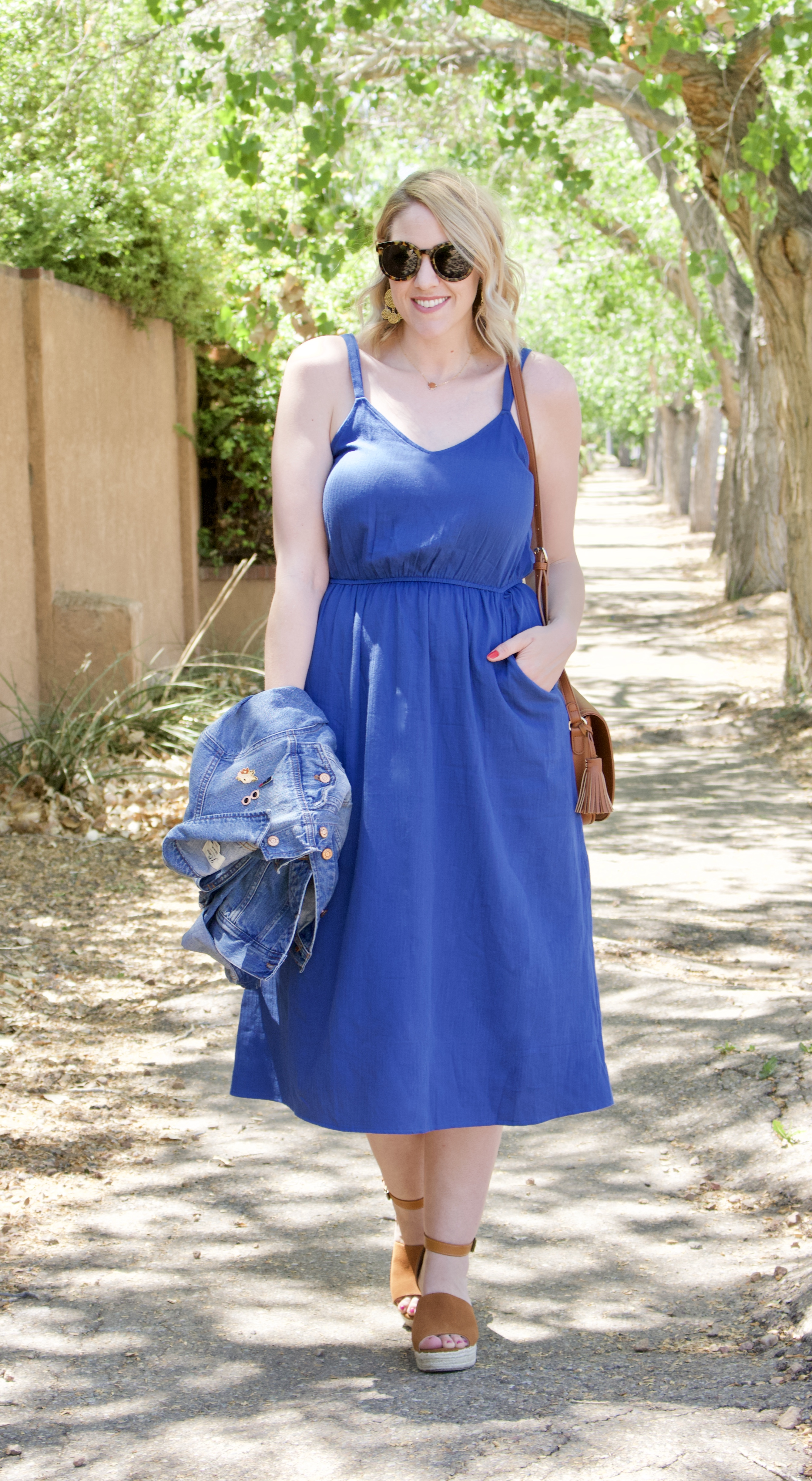 blue midi dress for mother's day #dress #springdress #mididress #tallfashion