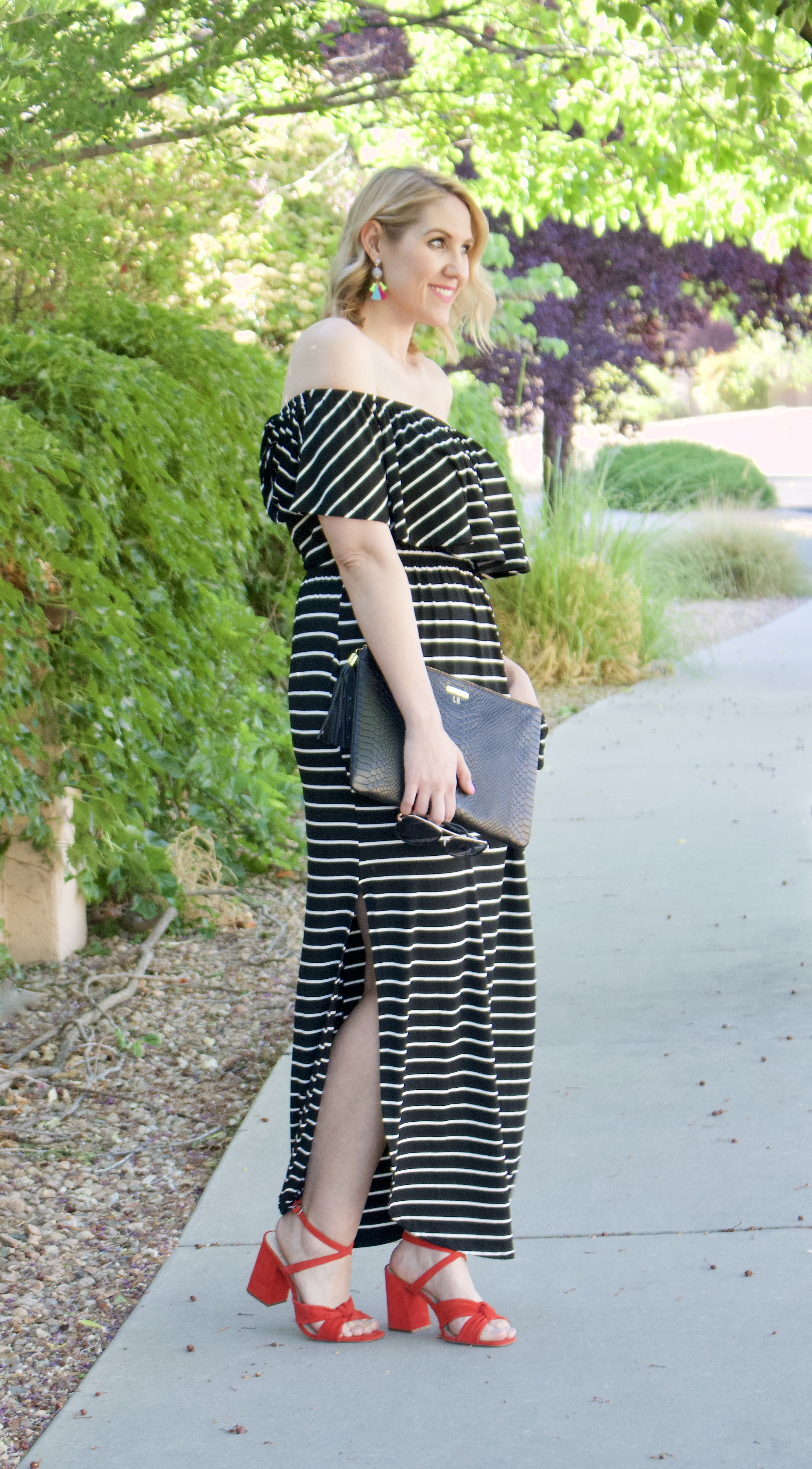 striped off shoulder maxi dress pink blush #dress #summerdress #fashionblogger