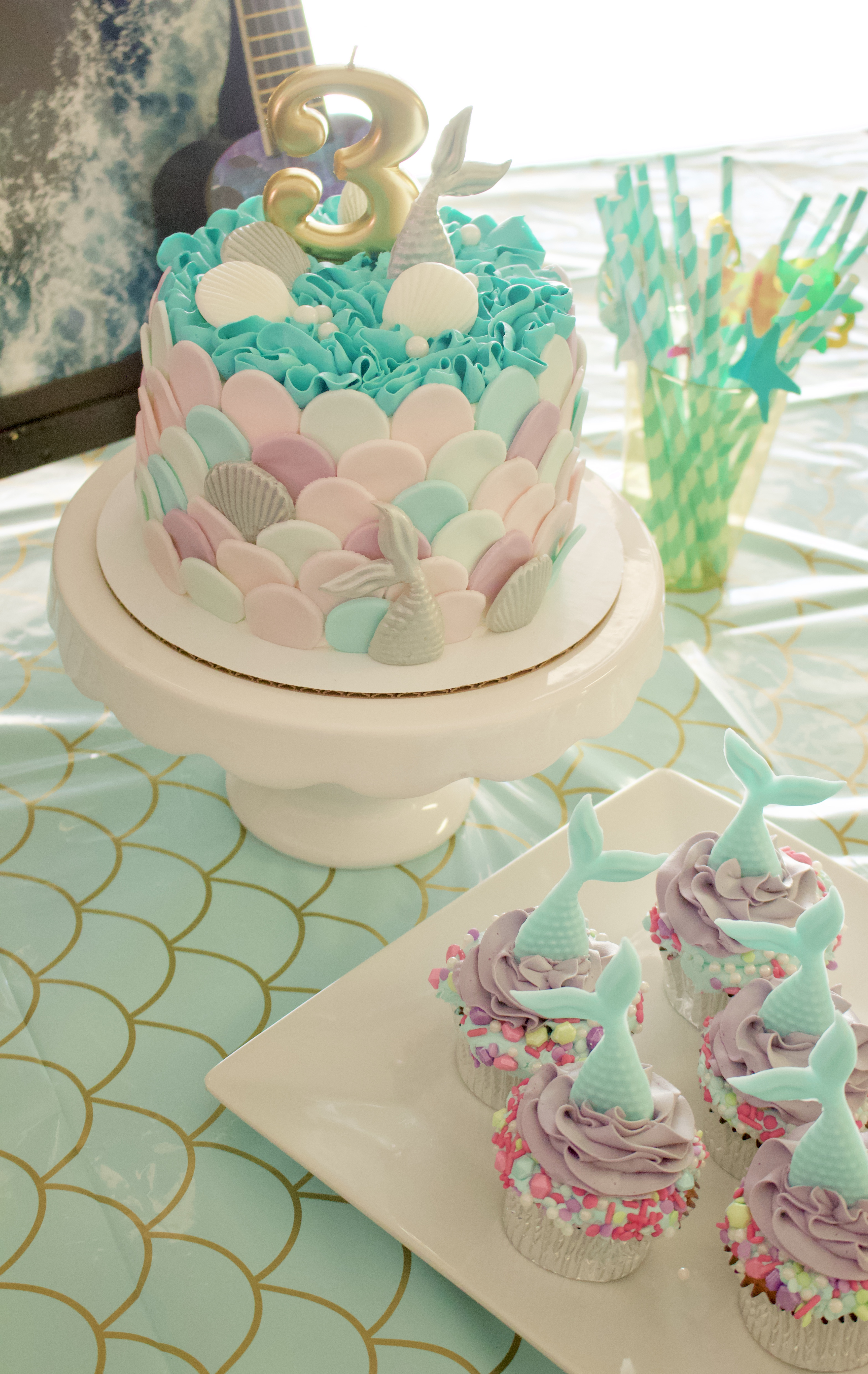 mermaid party cake and cupcakes #mermaidcake #mermaidparty #birthdayparty #birthdaycake