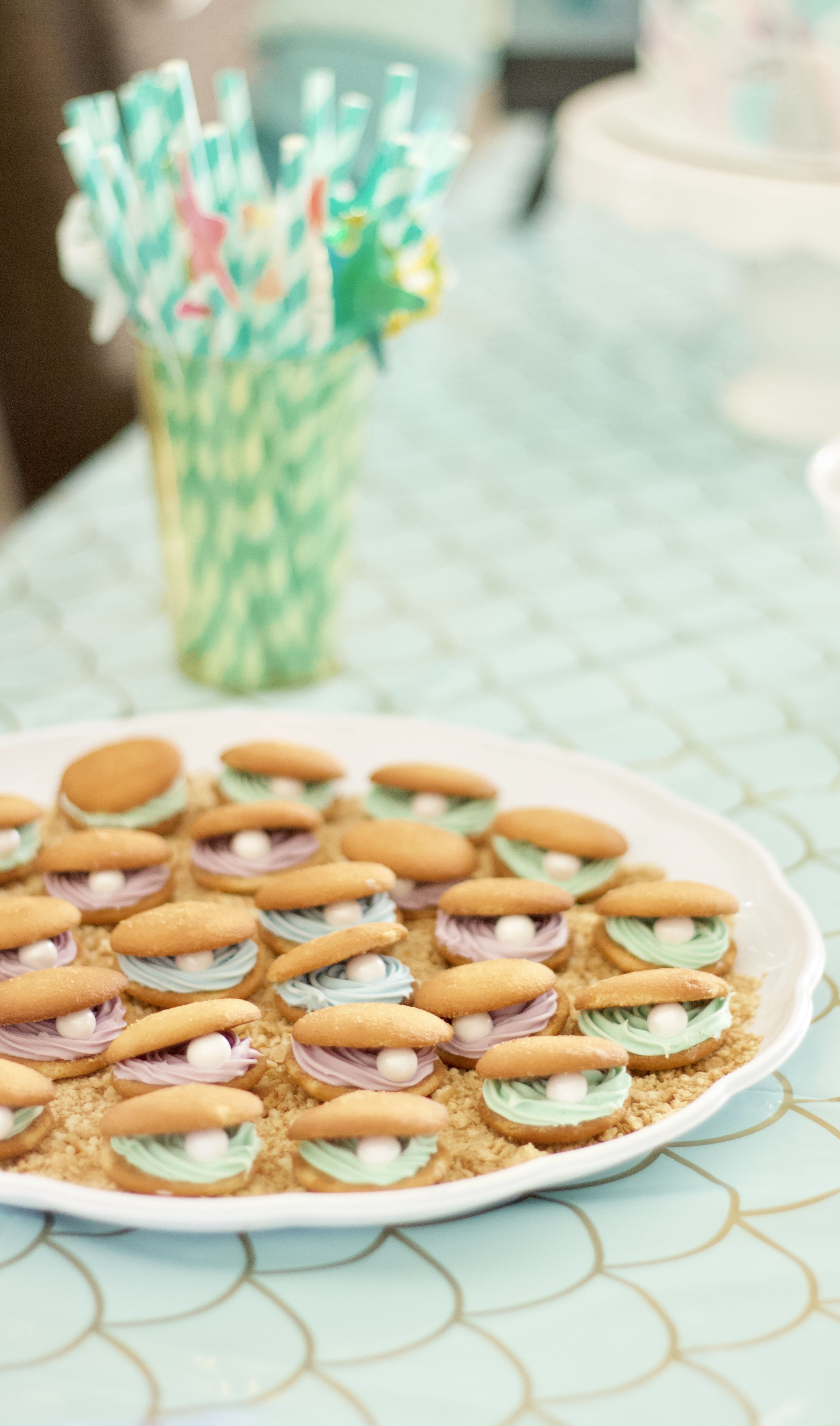 clam shell cookies mermaid party #diy #cookies #mermaidparty #birthdayparty