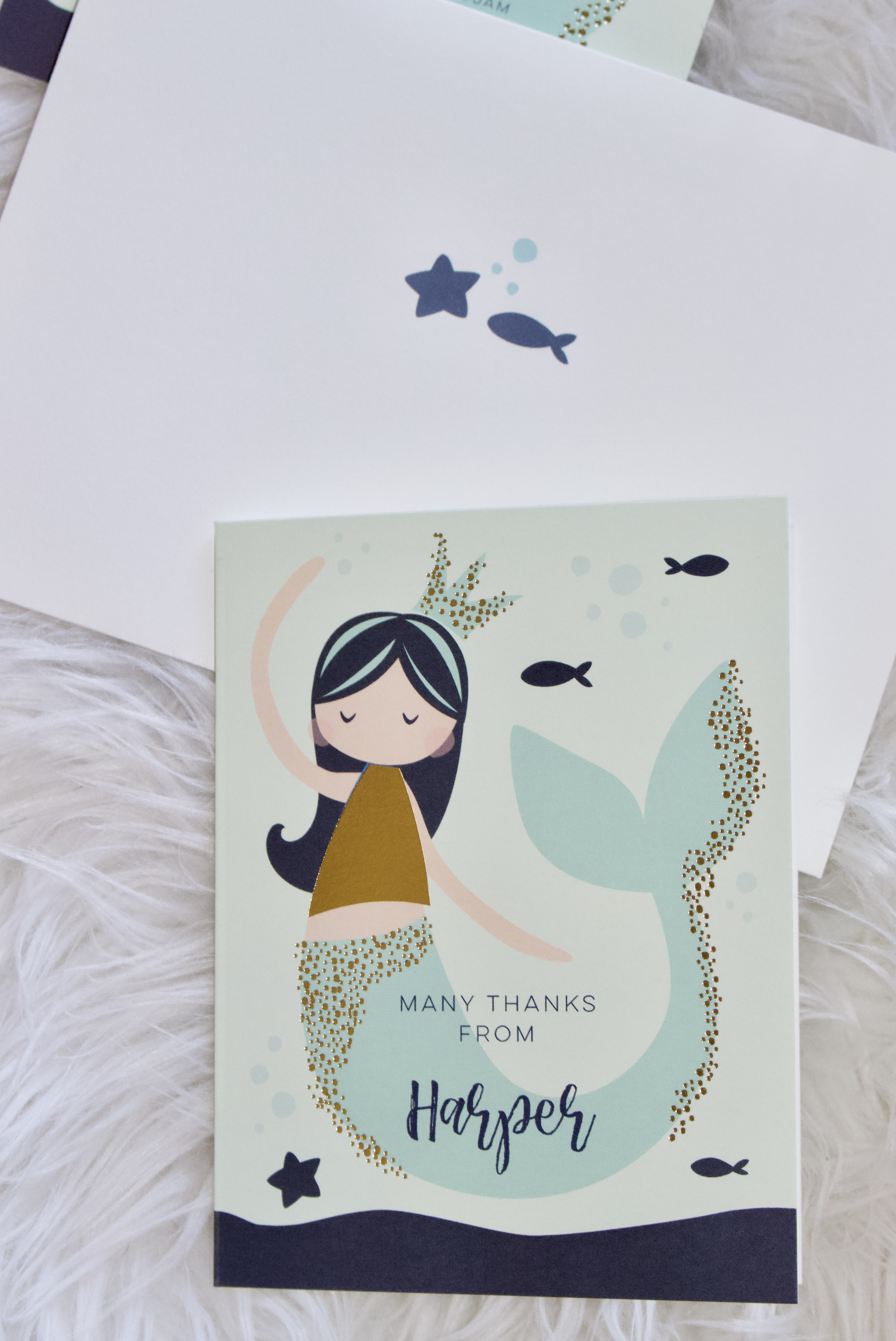 custom minted thank you notes #minted #thankyounotes #mermaidparty #kidsbirthday