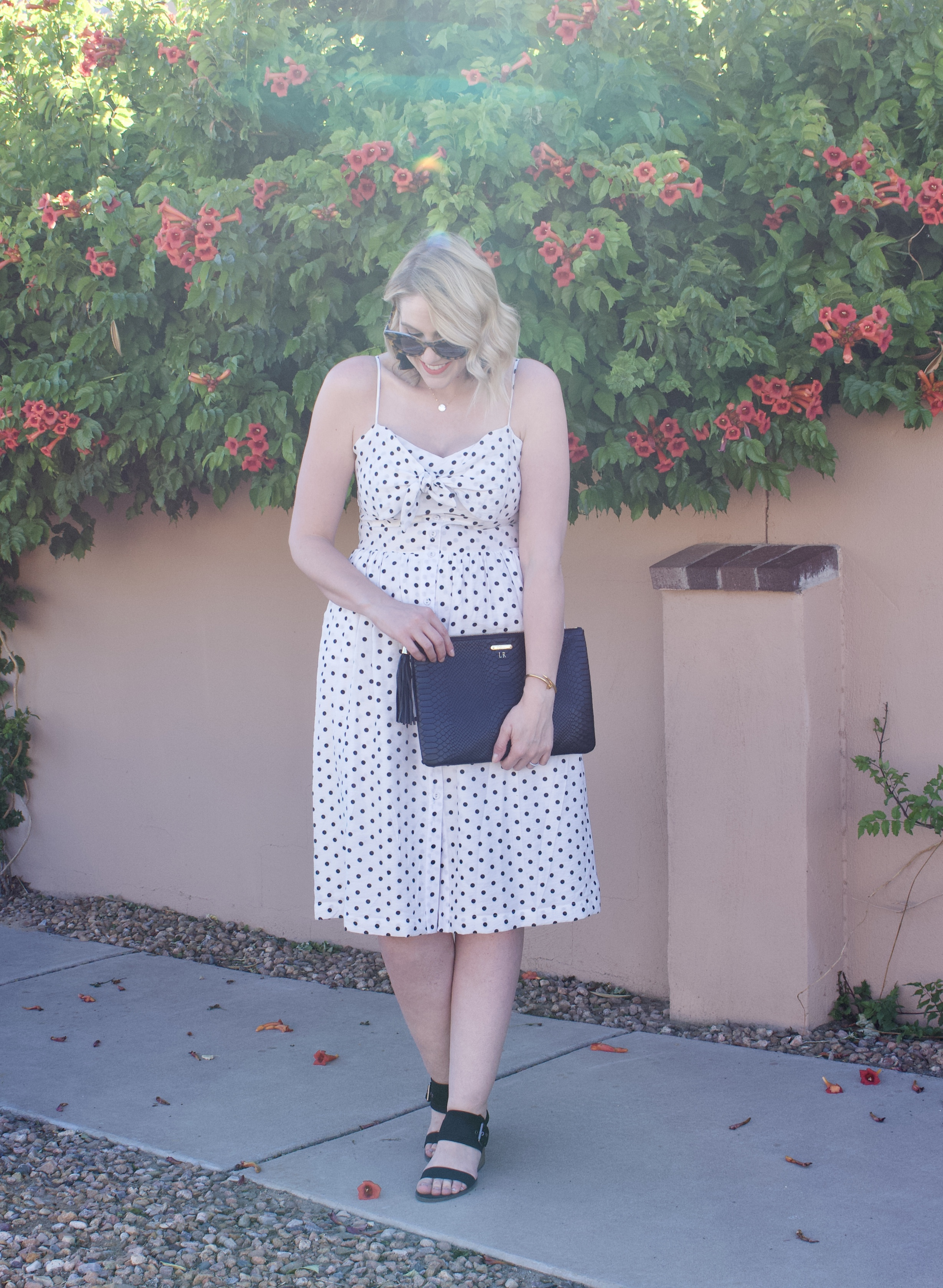 polka dot midi dress date night style #datenight #mididress #fashionlinkup #fashionblogger