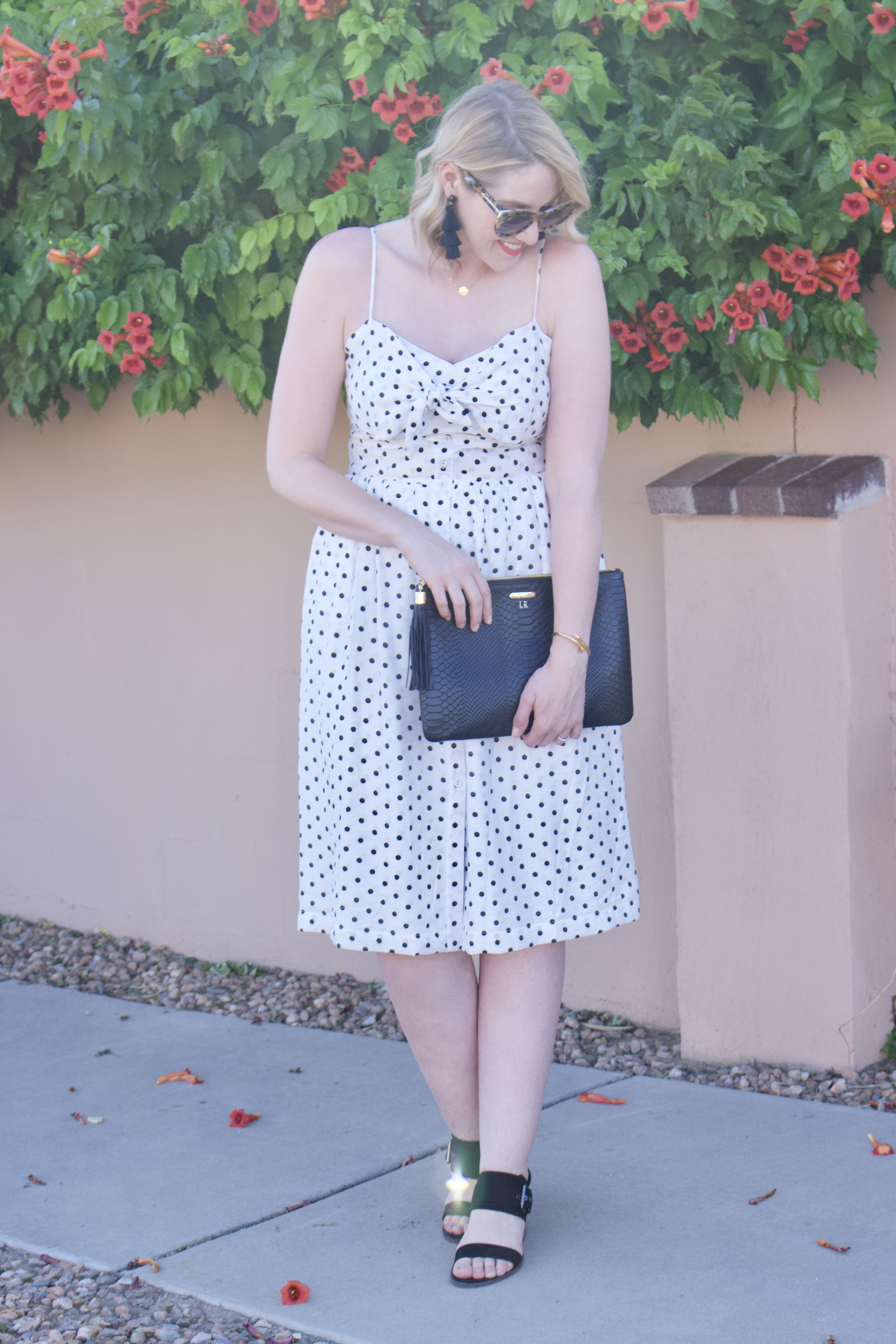 cute midi dress for summer #summer #polkadotdress #momstyle #fashionblogger