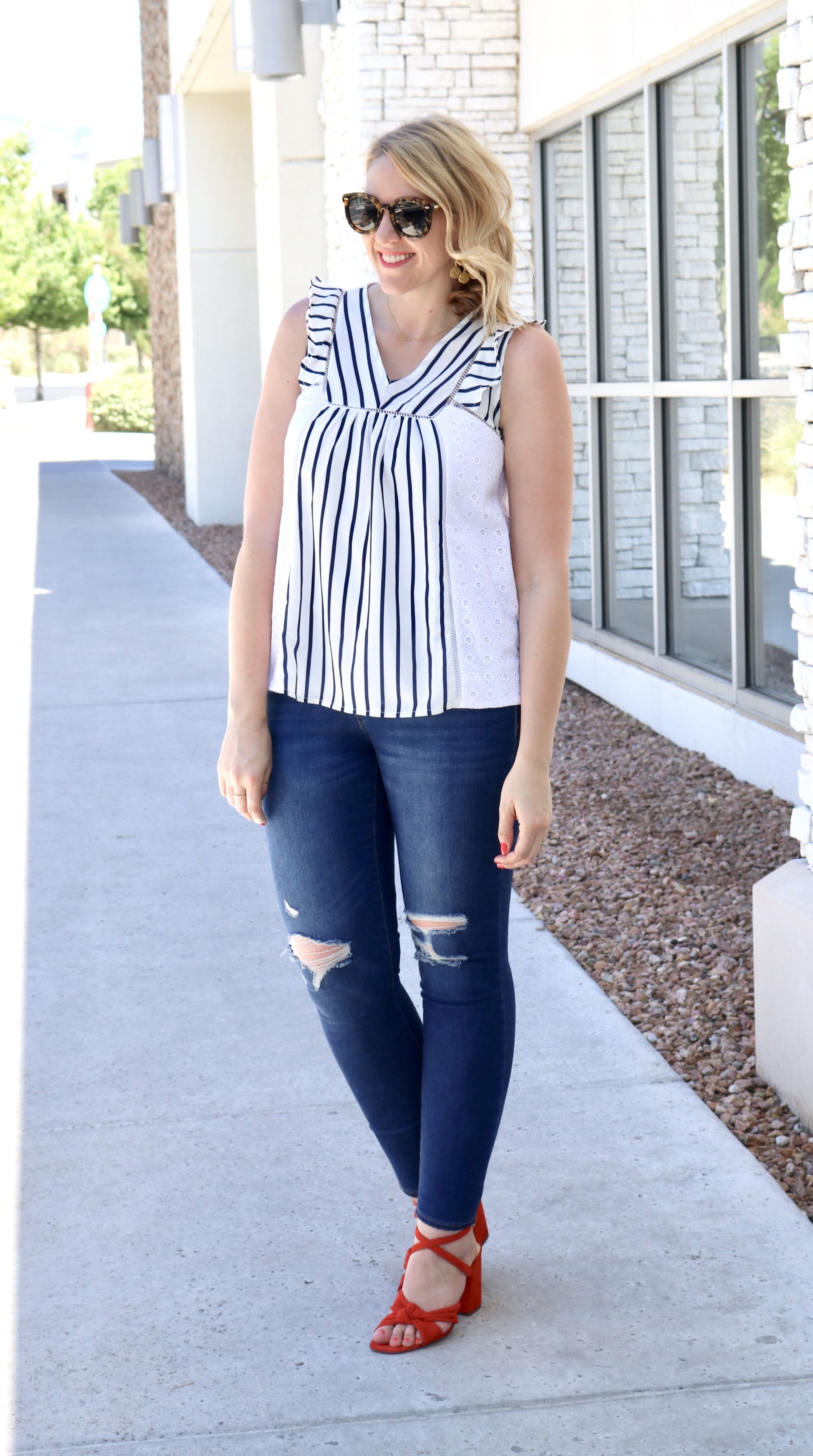 cute fourth of july style #summerstyle #oldnavystyle #redheels #eyeletblouse