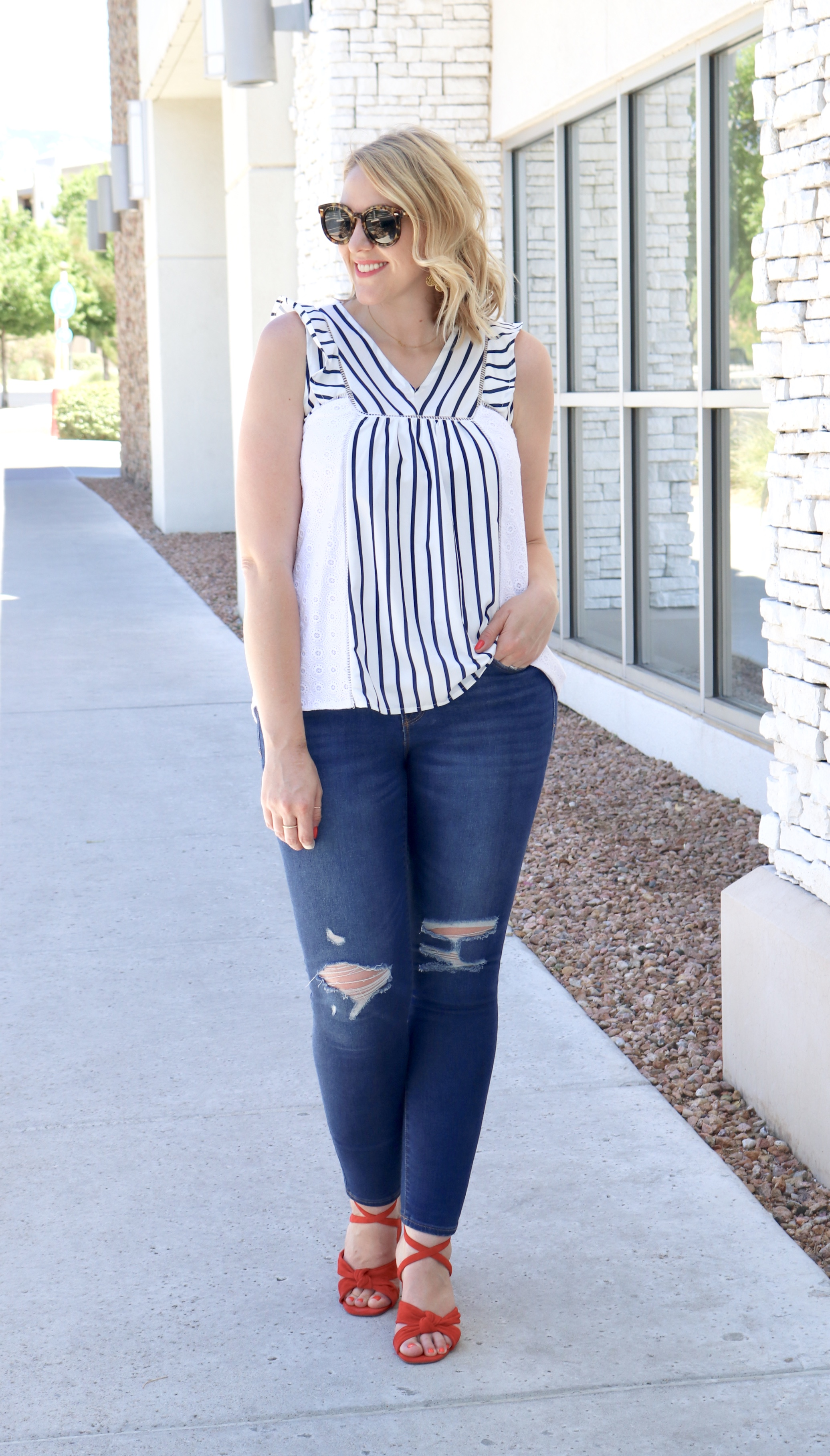 fourth of july outfit red sandals #4thofjuly #summerstyle #distressedjeans #redheels