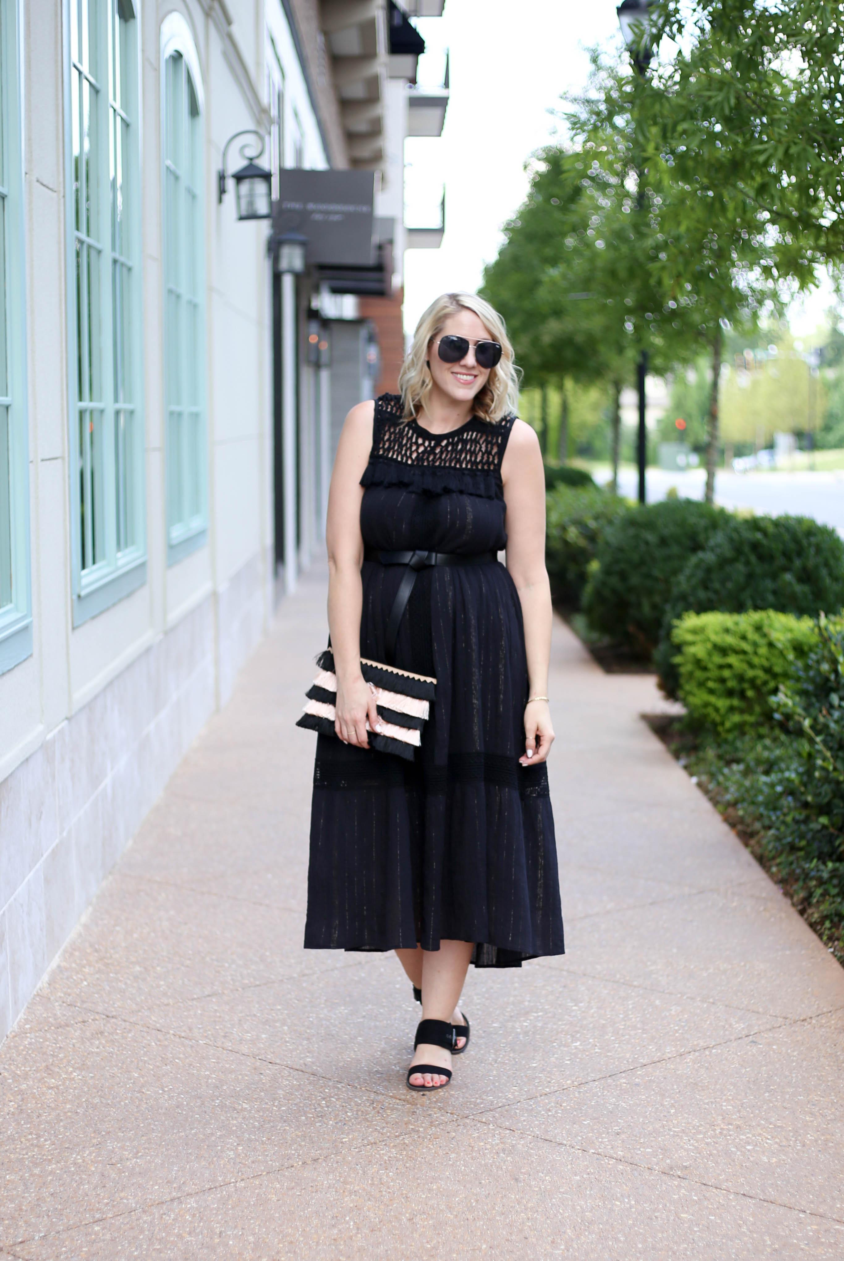black midi dress boho style #boho #mididress #anthropologie