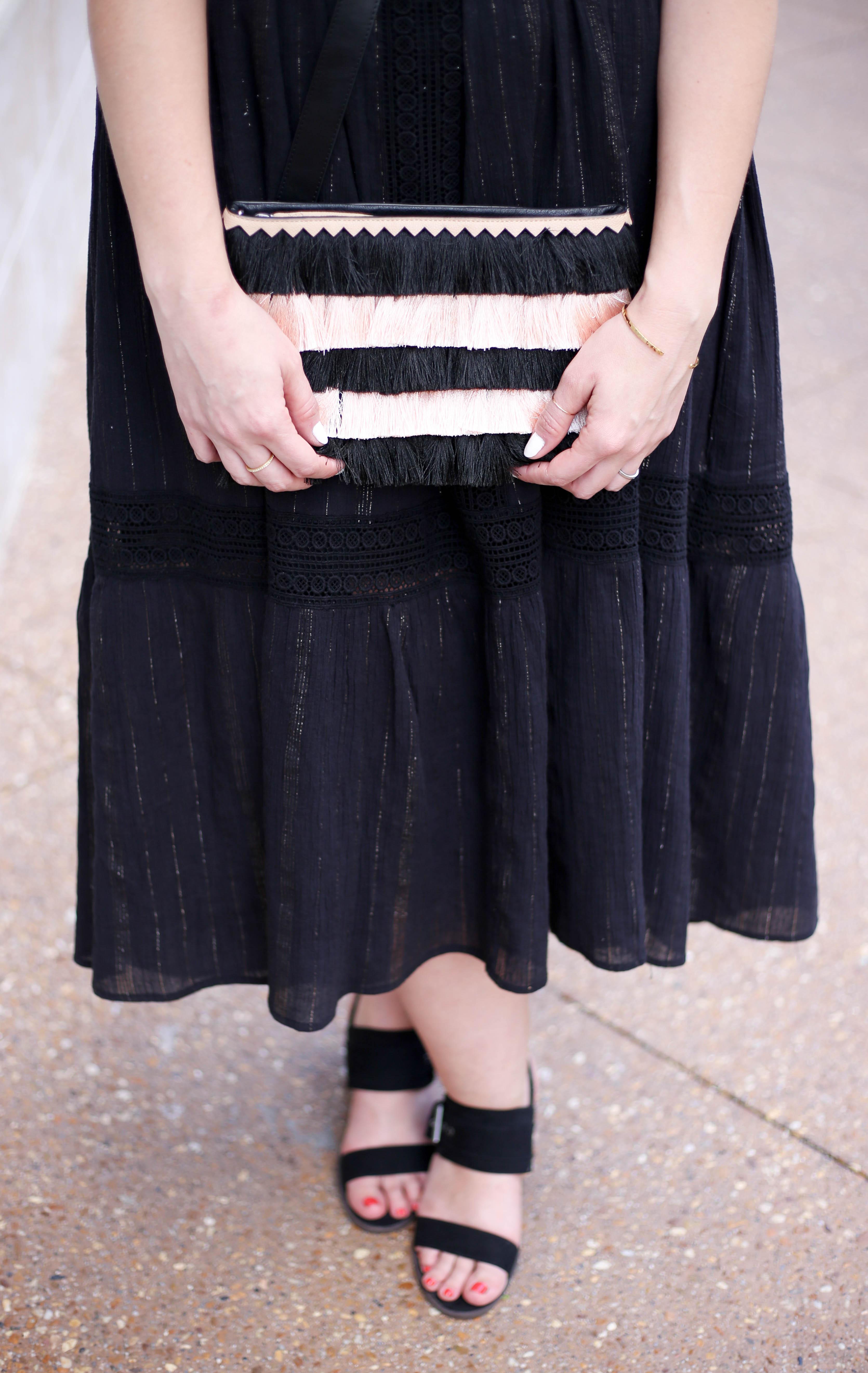 striped fringe clutch black dress #outfitdetails #fringe #summerstyle