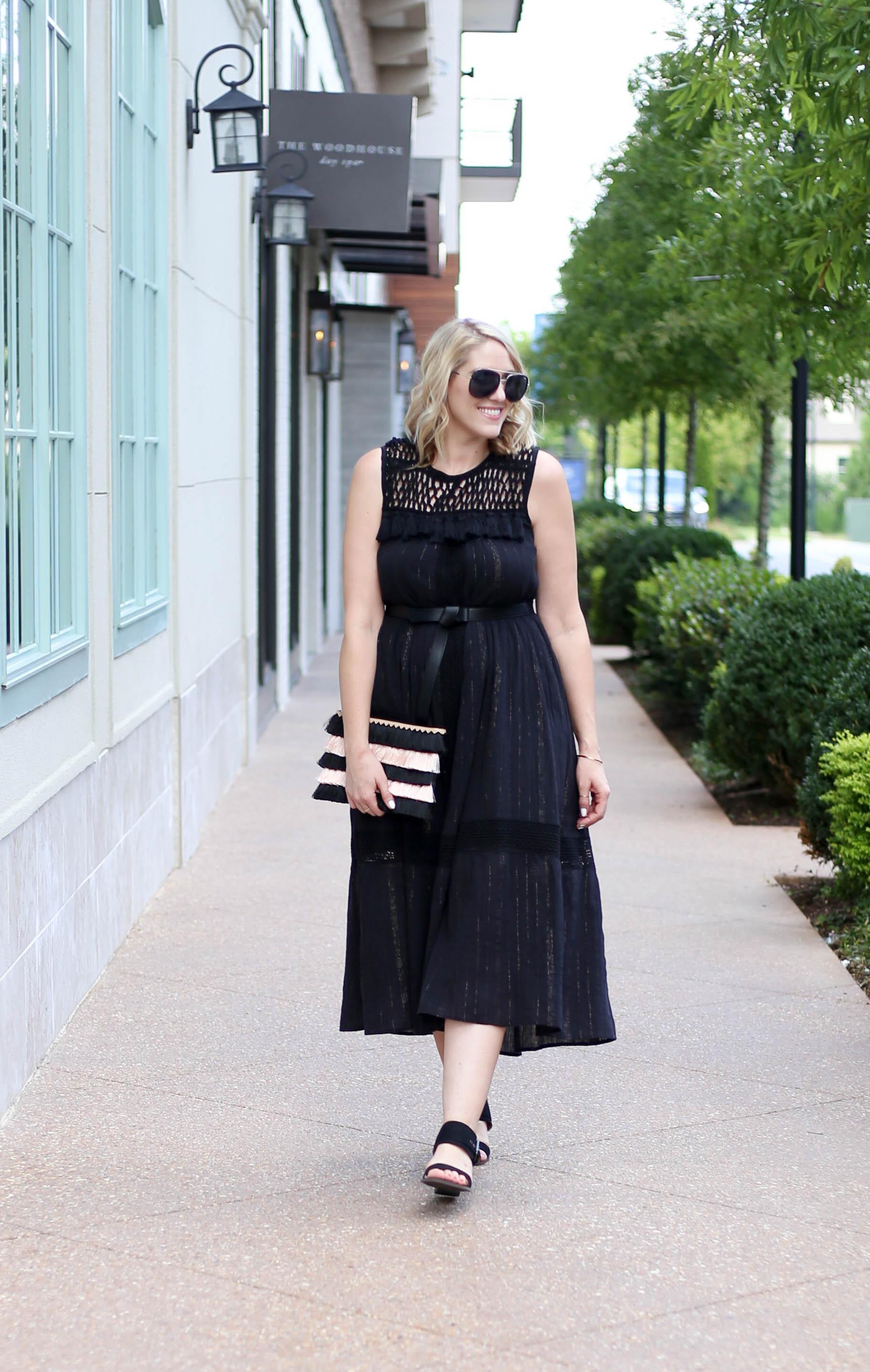 black boho dress midi dress #bohodress #bohooutfit #fashionblogger
