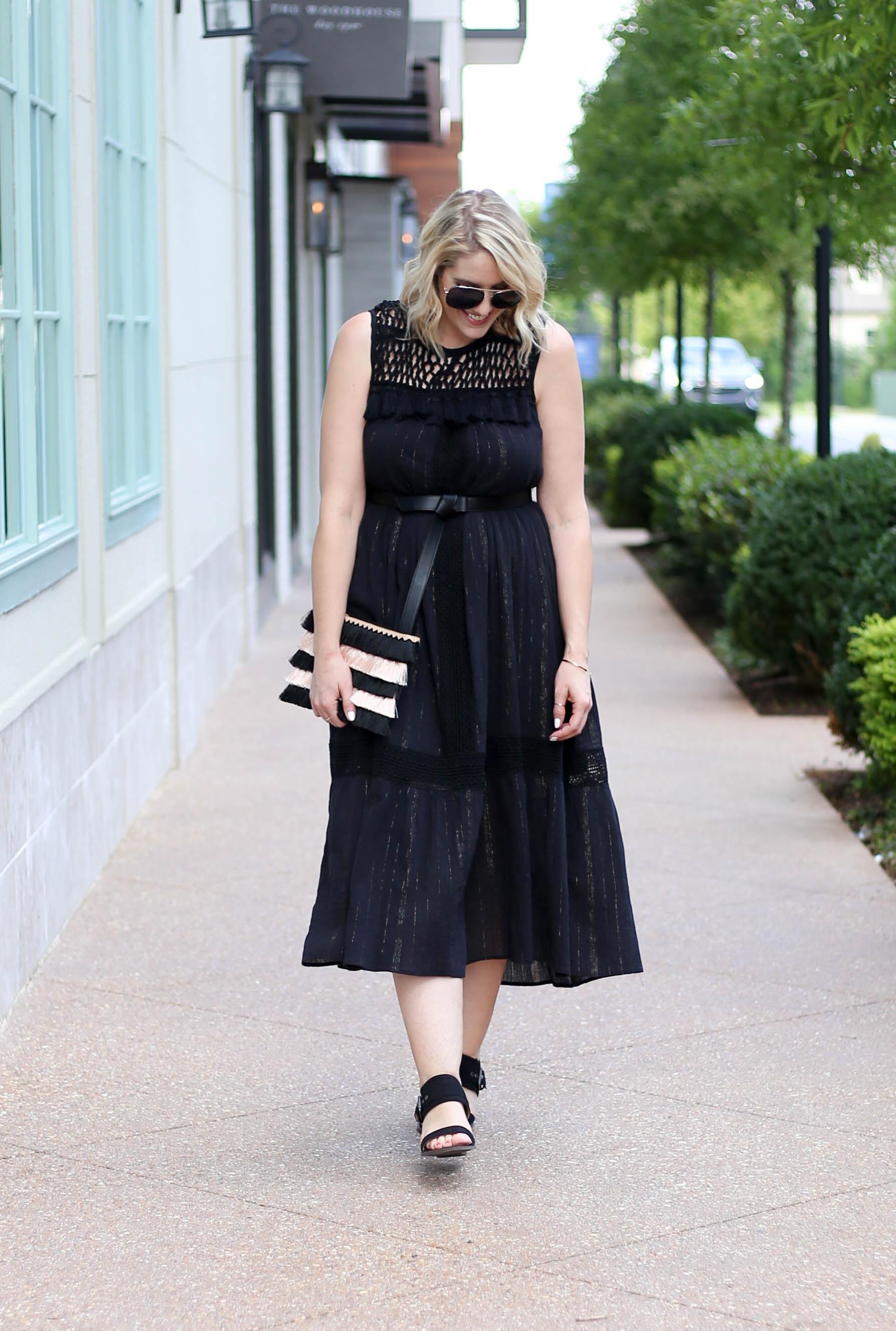 black boho midi dress #anthropologie #blackdress #lbd