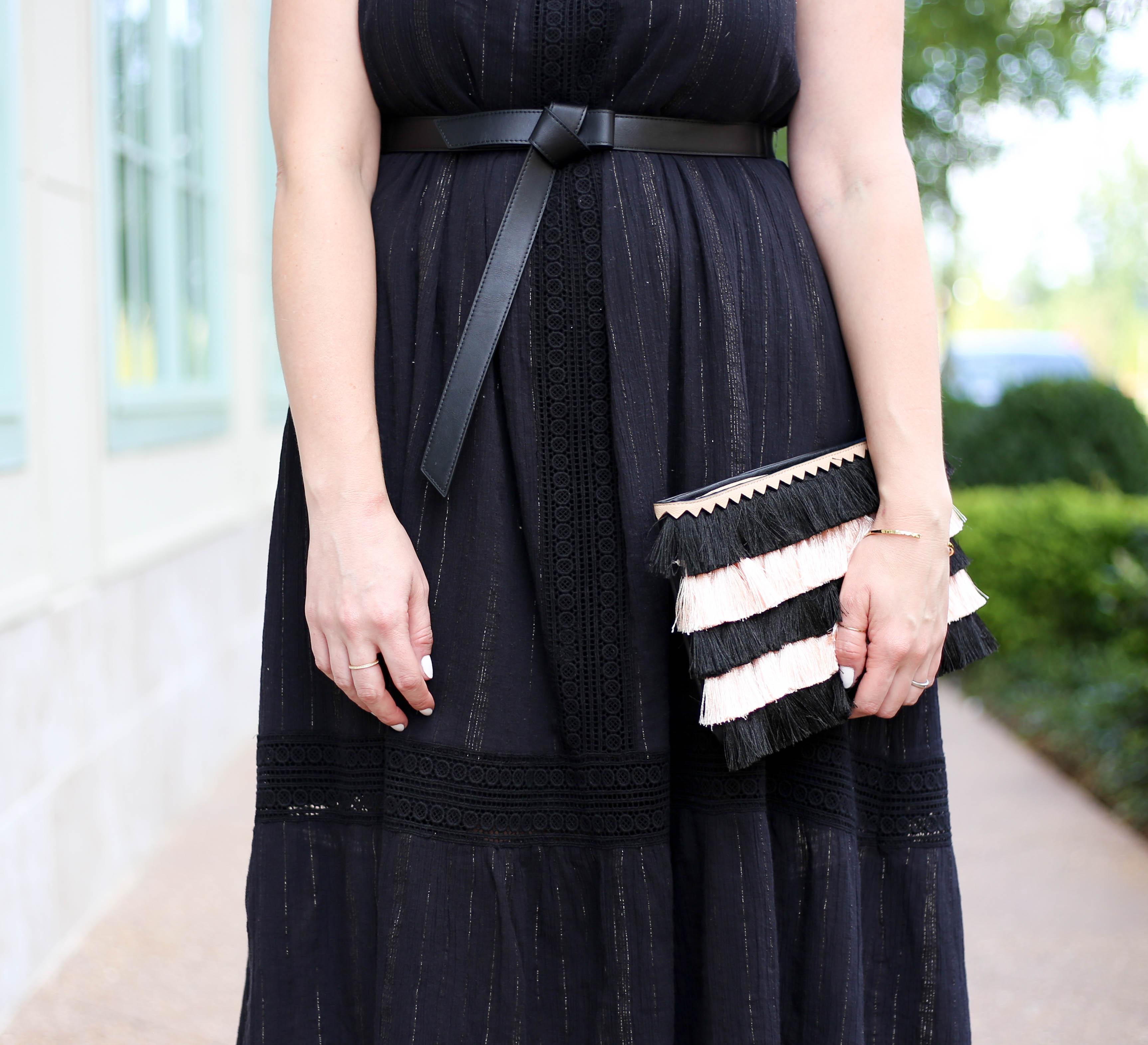 stella and dot fringe clutch #fringe #blackdress #bohostyle