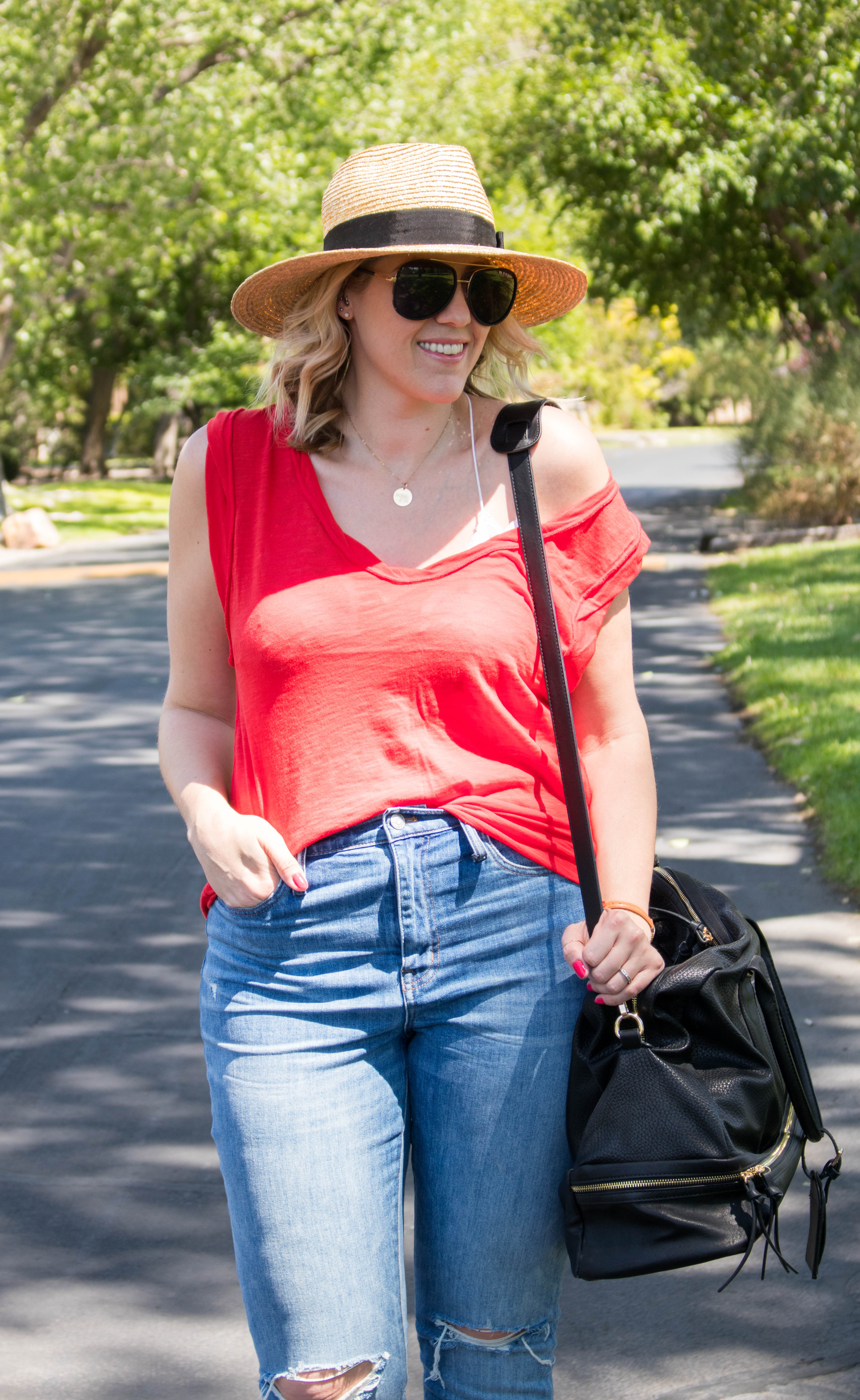free people top with bralette #freepeople #bohostyle #Panamahat #summeroutfit