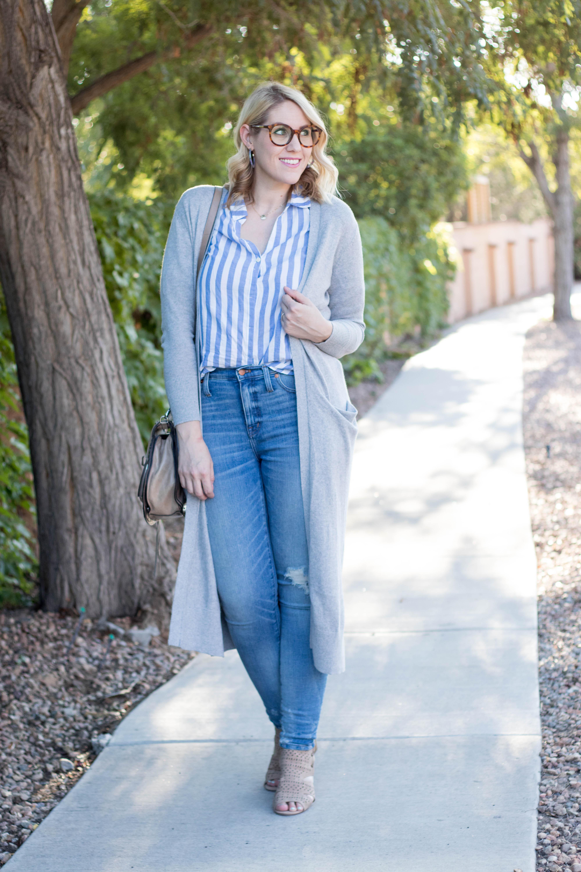 striped button front top jcrew #jcrew #summertofall #styleblogger