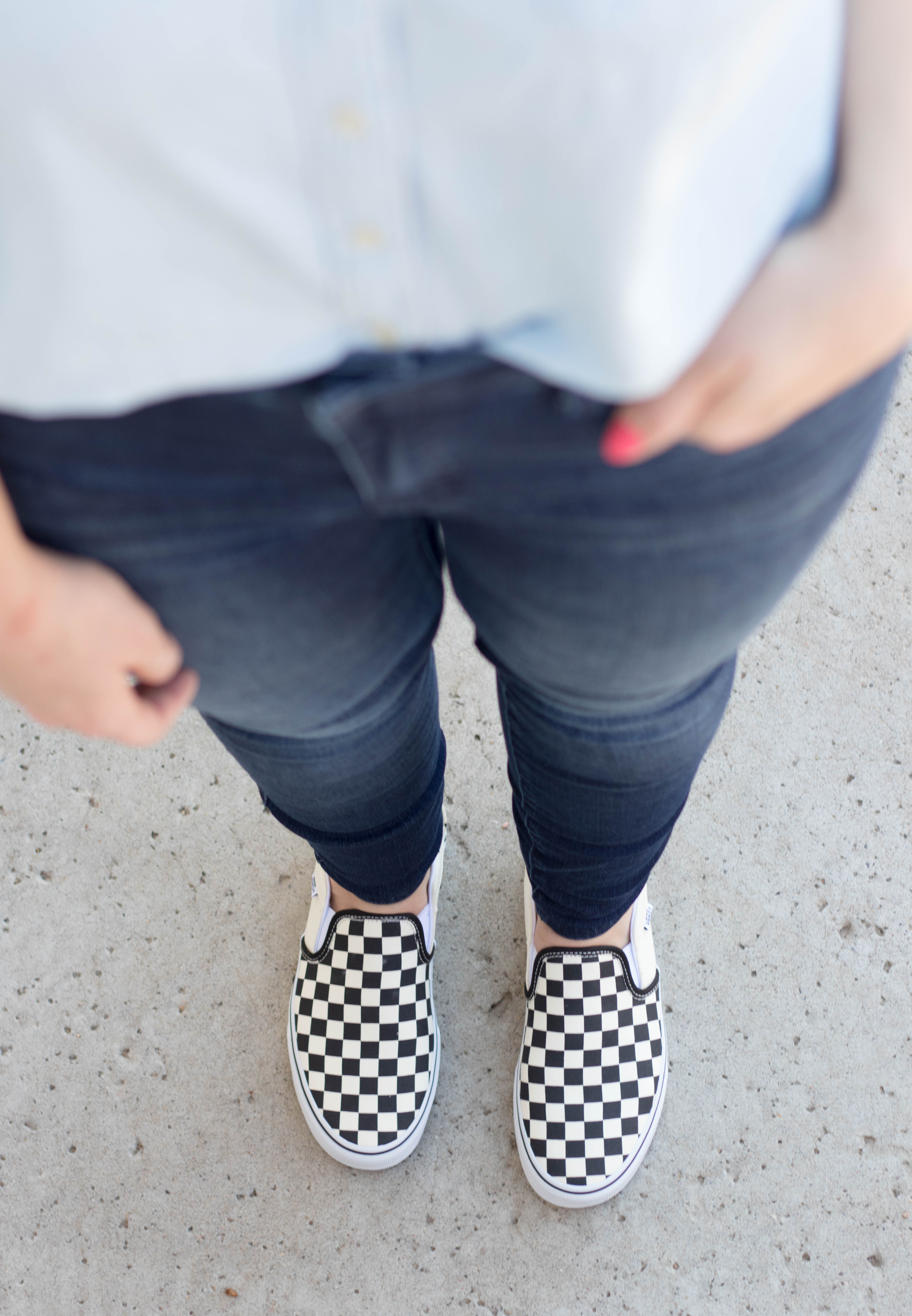classic vans checkerboard slip ons #vans #sneakers #outfitdetails