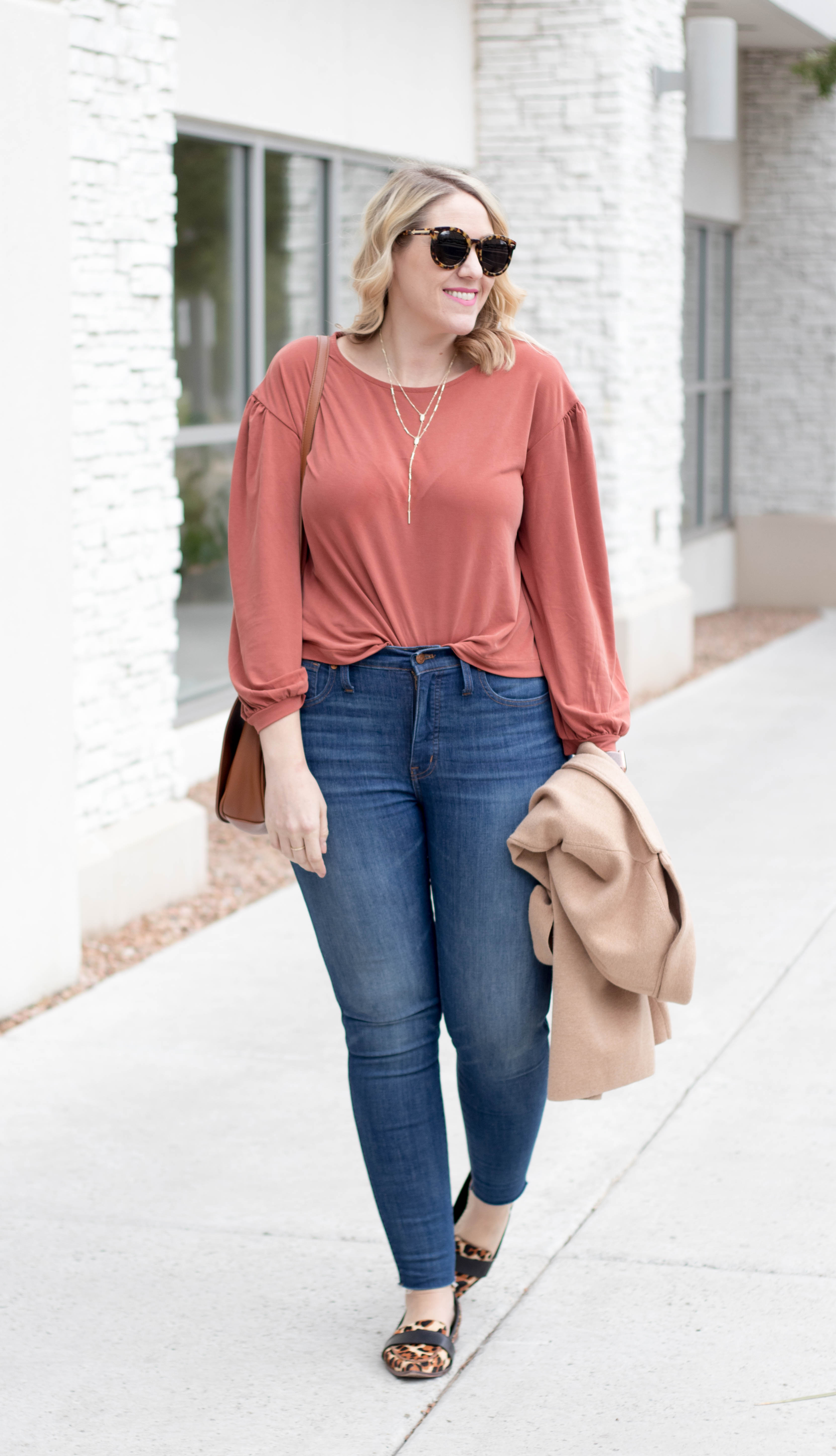 rust gathered sleeve top madewell #fallstyle #leopardflats #tallfashion