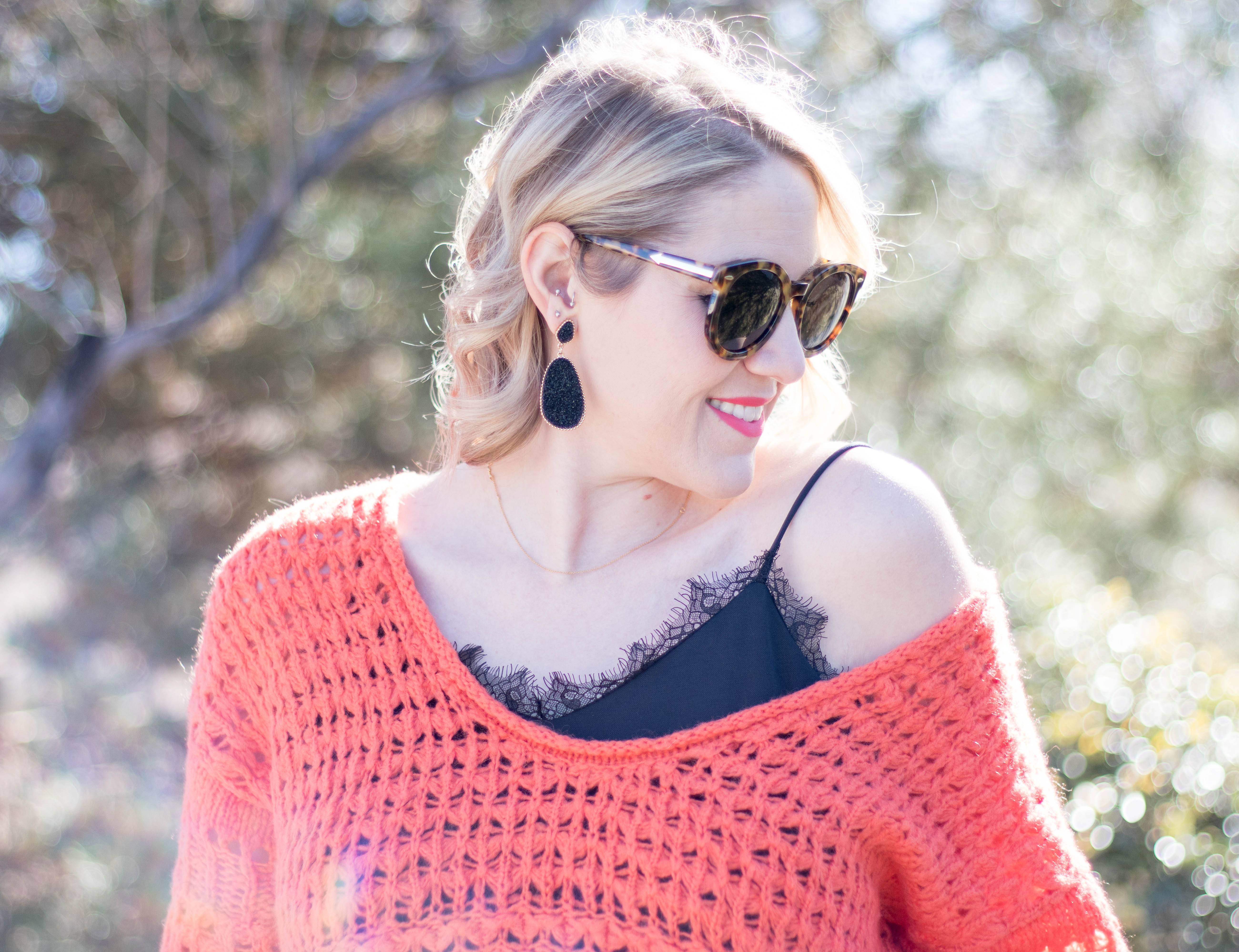 free people chunky sweater lace cami #winterstyle #winterlayers #outfitdetails