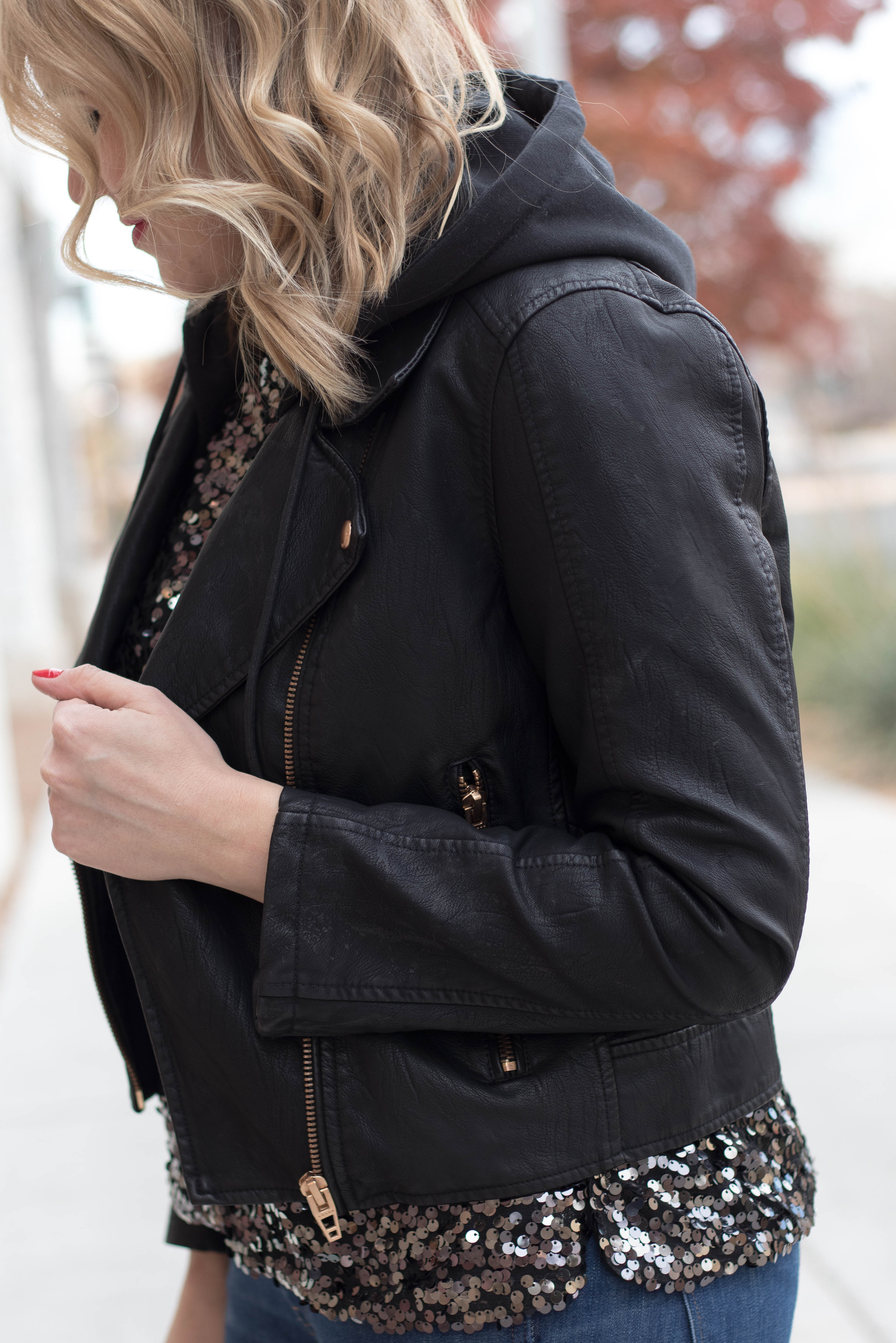 blank NYC Moto jacket with hood #blanknyc #outfitdetails #leatherjacket