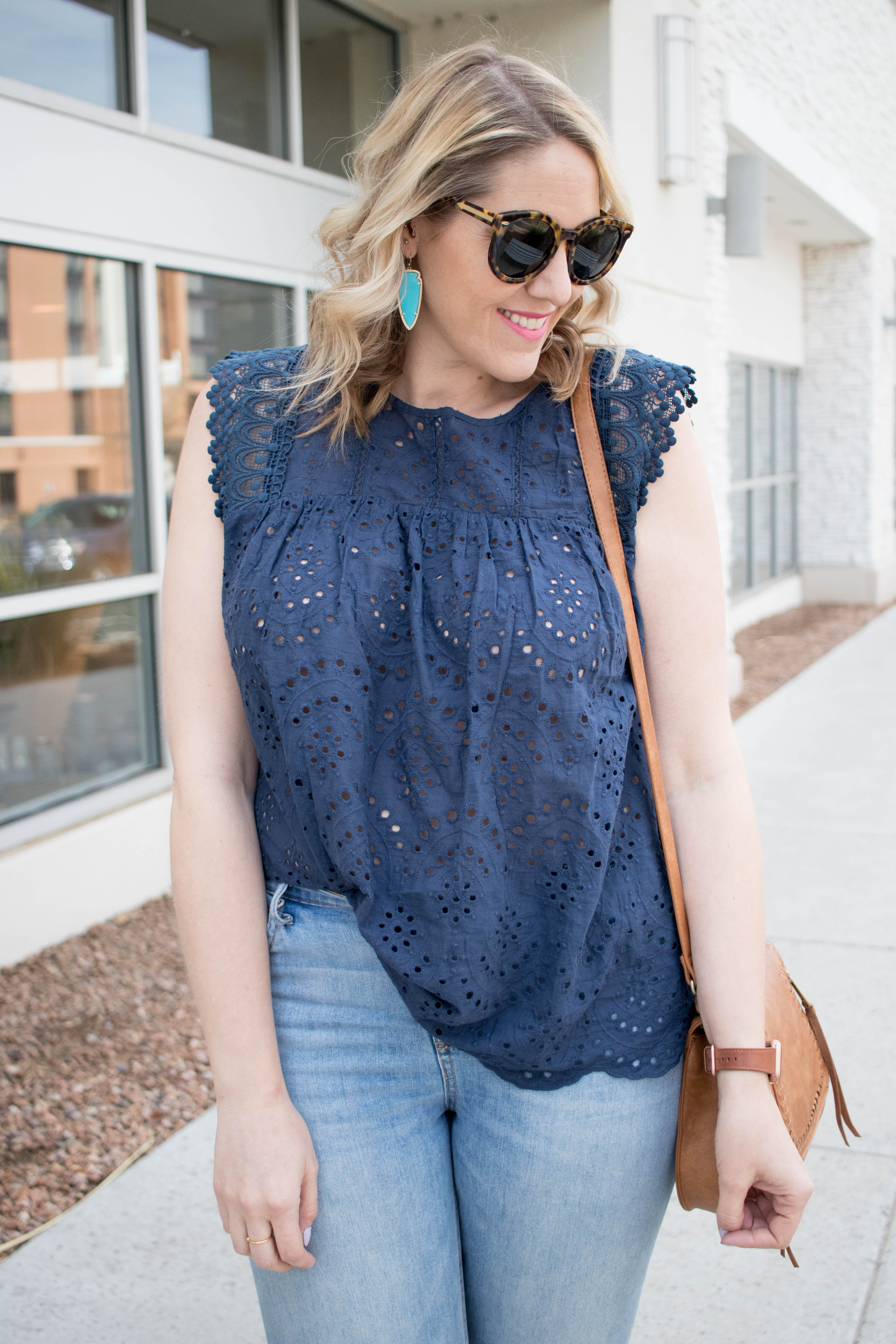 vici navy eyelet blouse for spring #vicidolls #eyelet #springoutfit