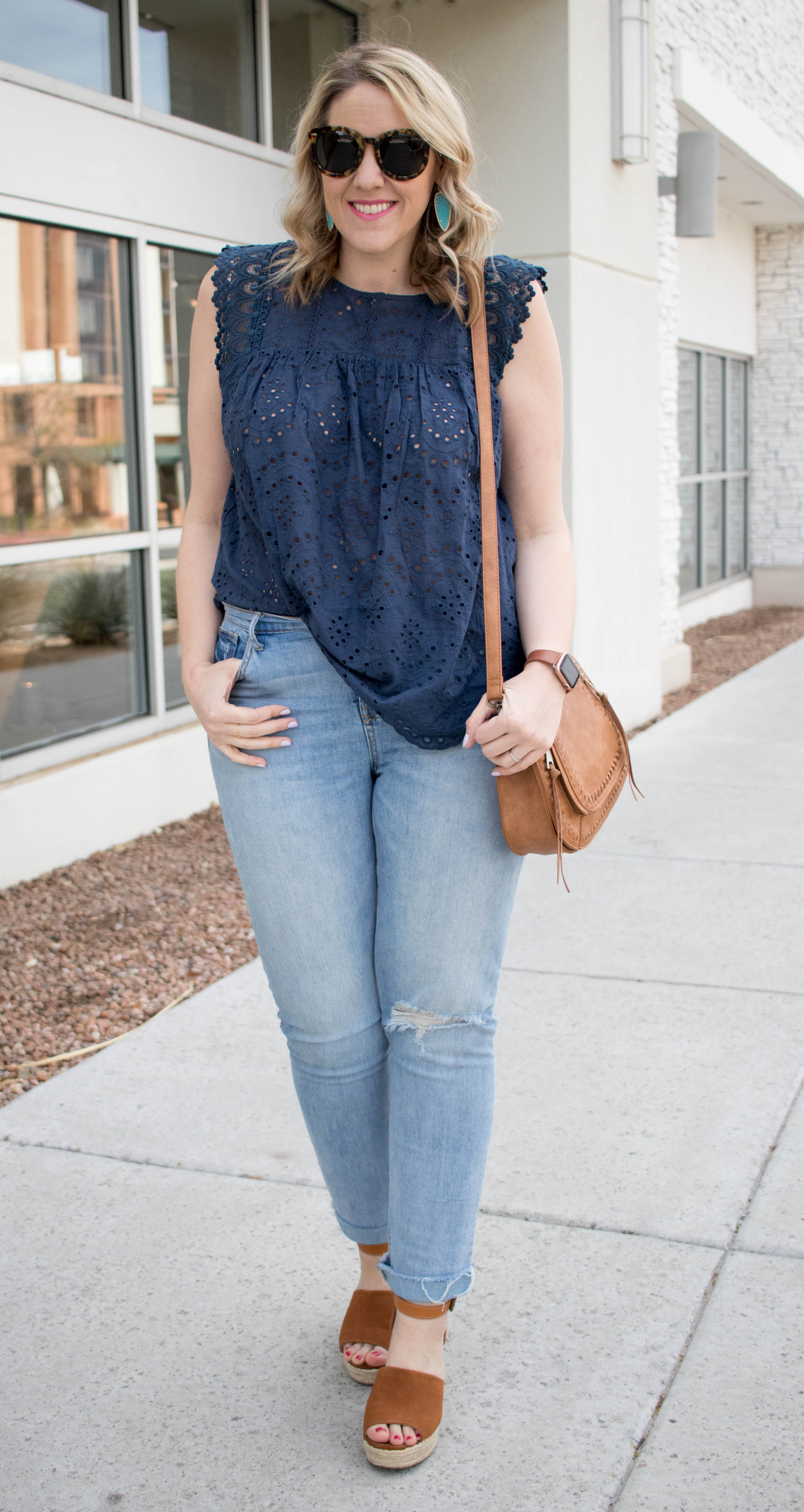 eyelet blouse and boyfriend jeans outfit #styleblogger #theweeklystyleedit #linkup
