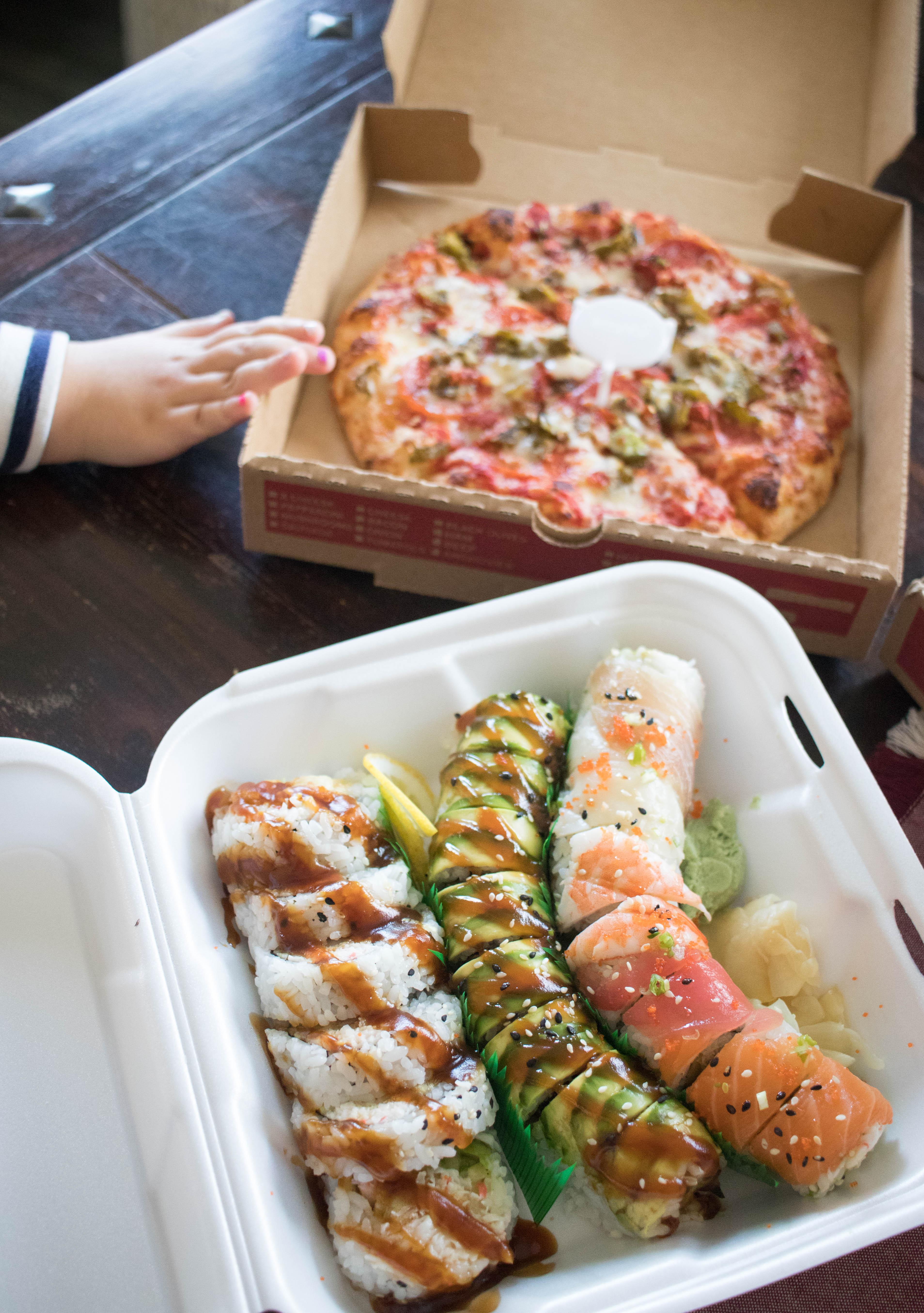 grubhub for girls night in #grubhub #sushi #girlsnight