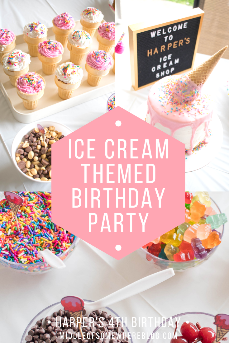 ice cream themed birthday party toddler girl #icecreamparty #kidsparty #birthdayparty