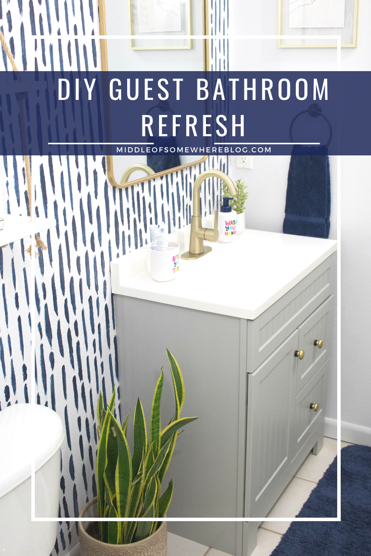 diy guest bathroom refresh #ad #rustoleum #studiocolorwallpaint