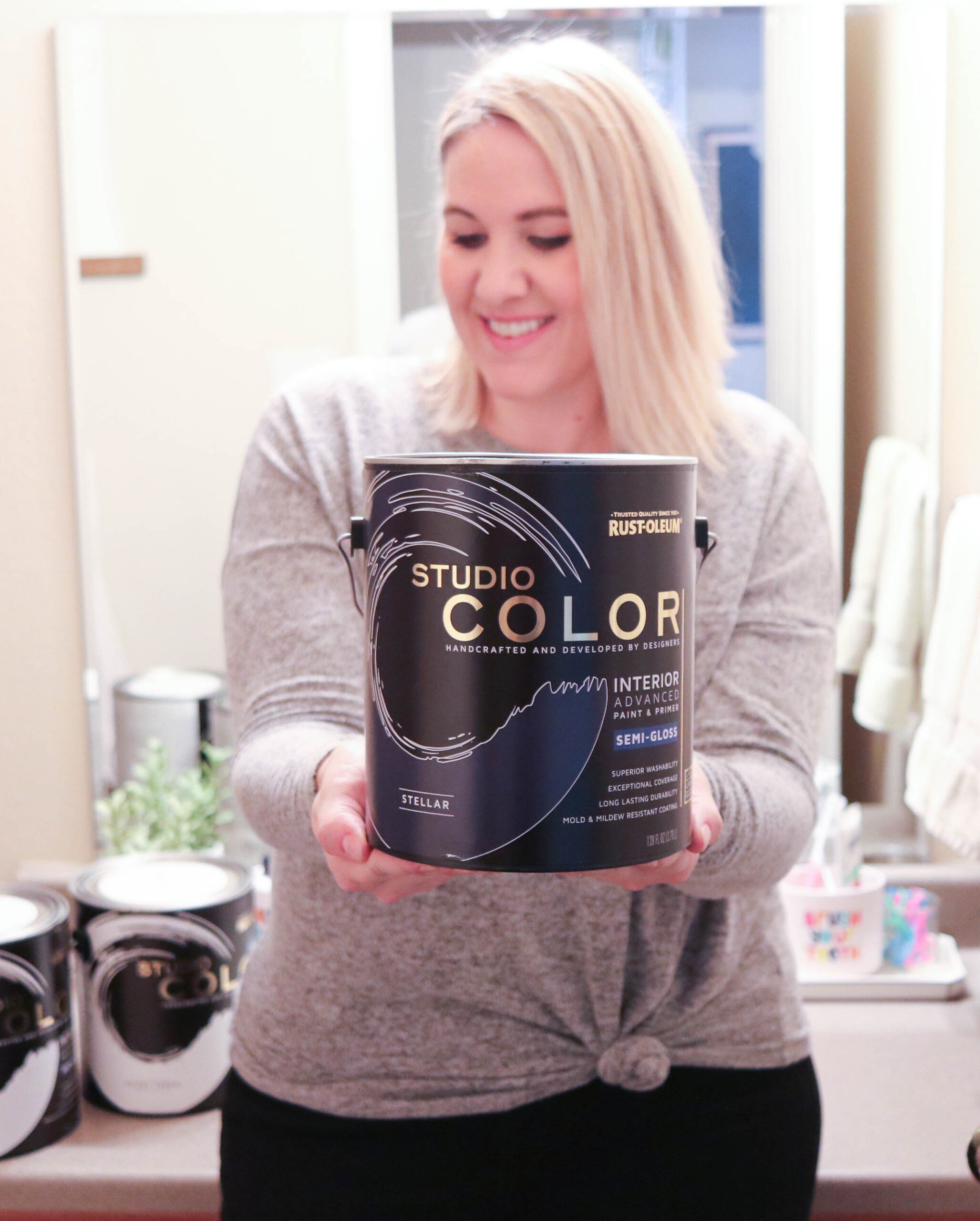 diy guest bathroom refresh rustoleum studio color wall paint